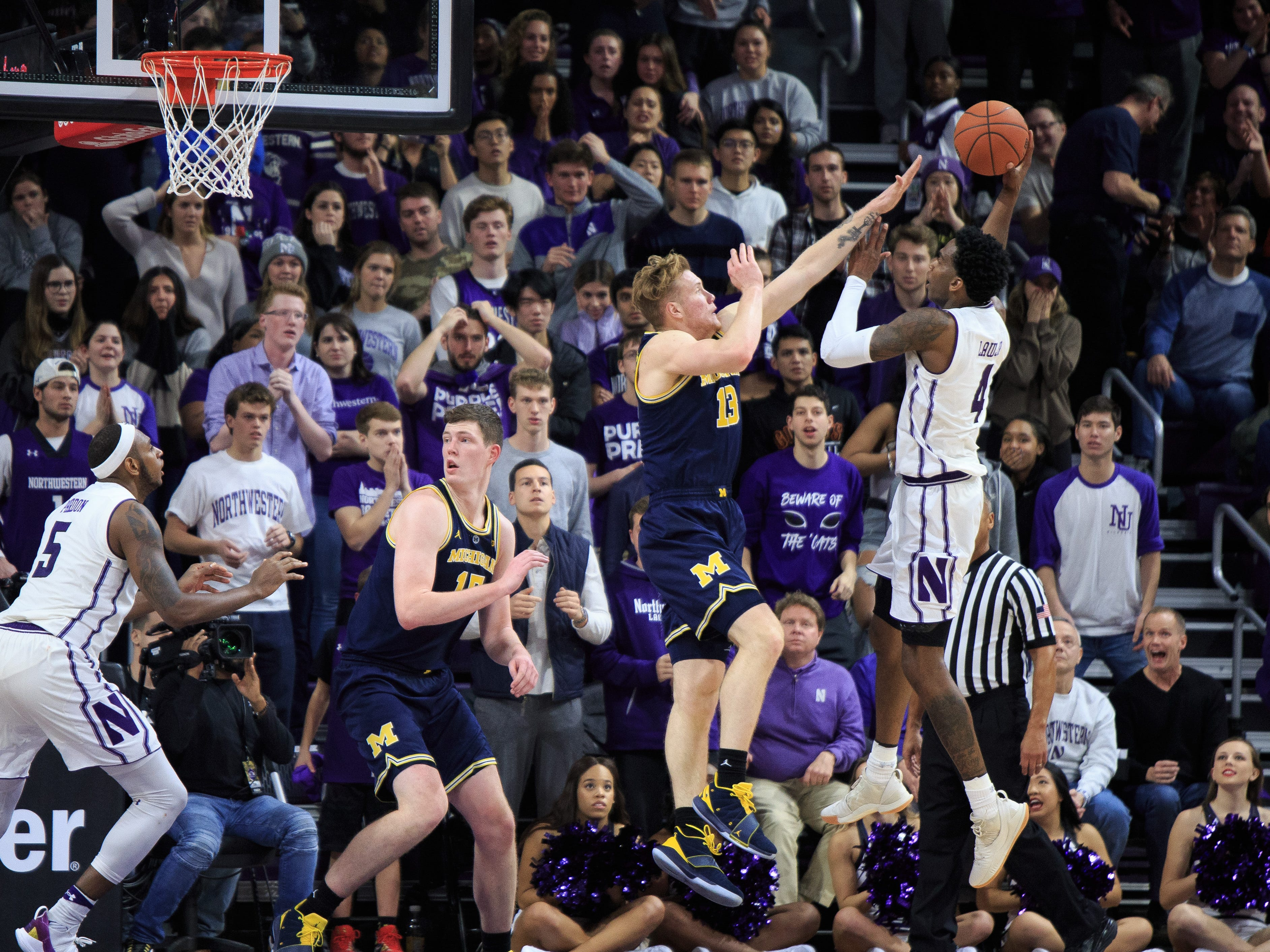 Northwestern's Vic Law takes a shot in the final minute of the second half of U-M's 62-60 win on Tuesday, Dec. 4, 2018, in Evanston, Ill.