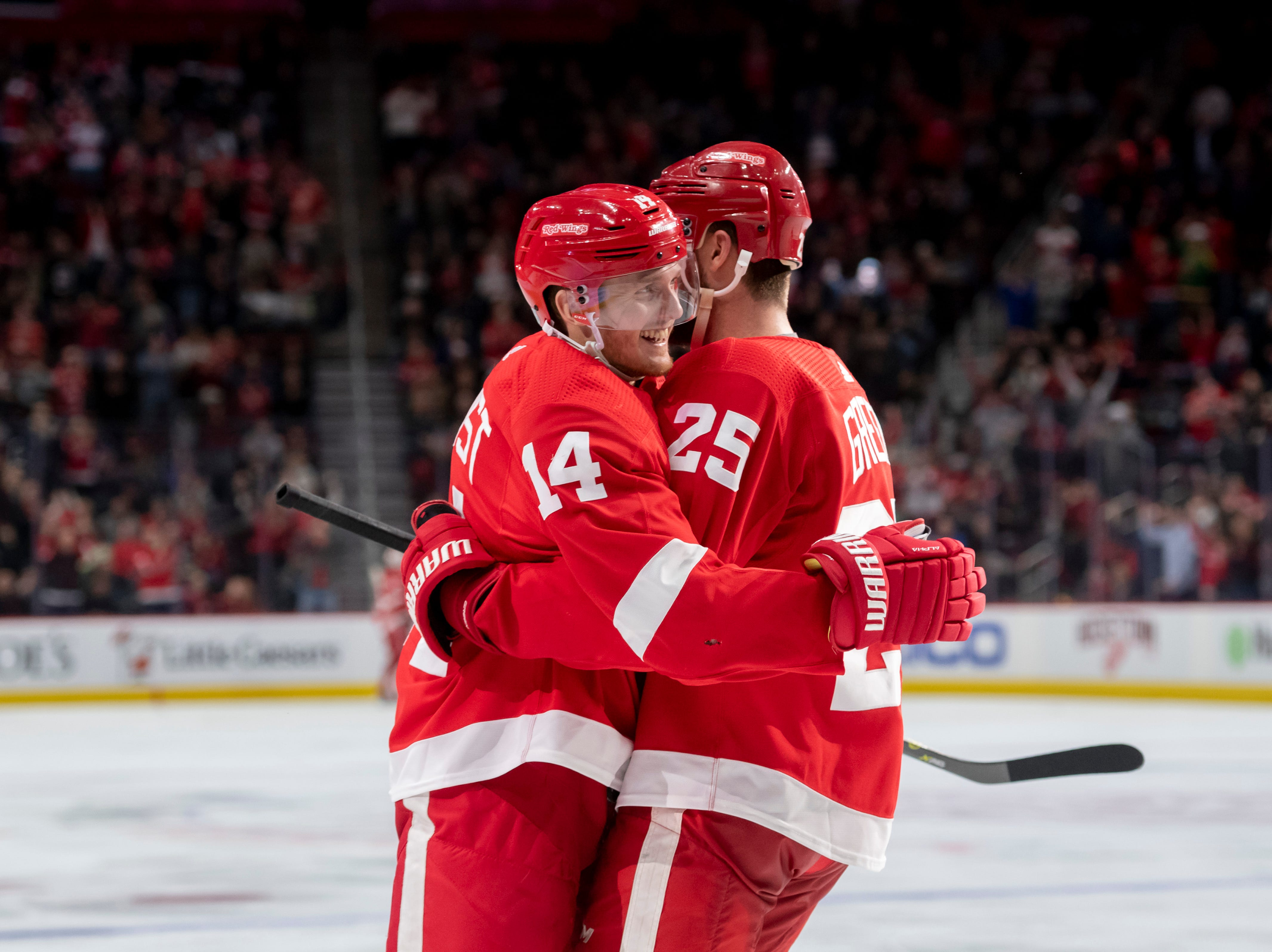Detroit center Gustav Nyquist, left, and defenseman Mike Green celebrate Nyquist's third period goal.