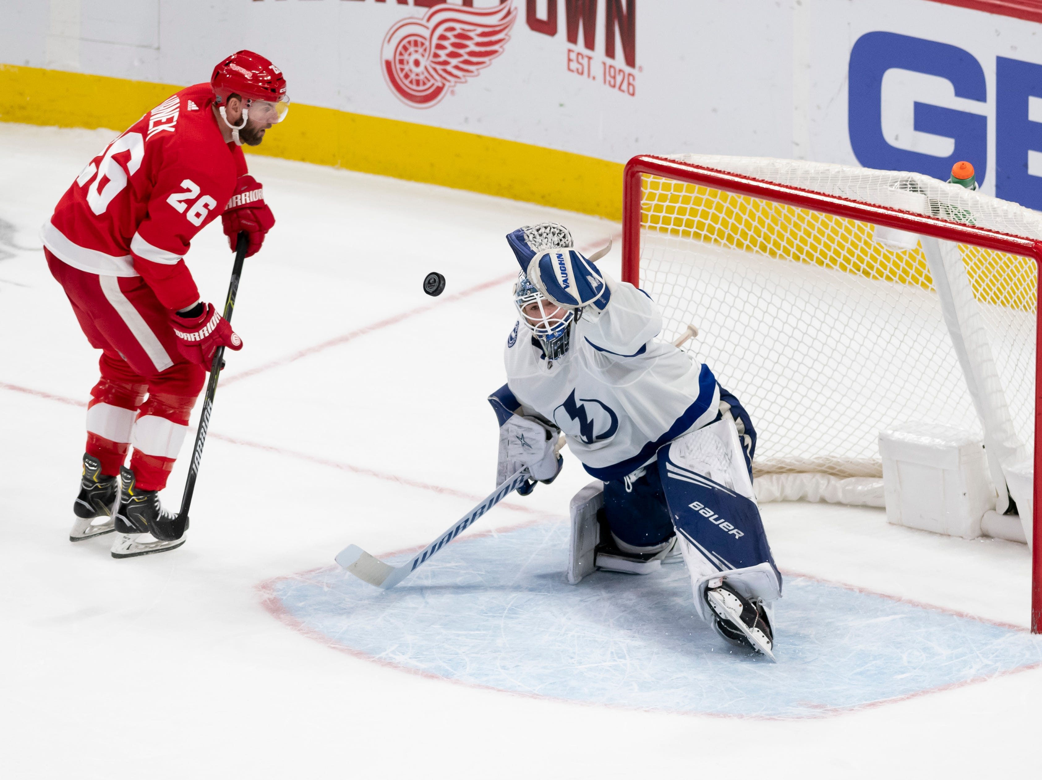 Detroit left wing Thomas Vanek gets a shot stopped by Tampa Bay goaltender Edward Pasquale during the shoot out.