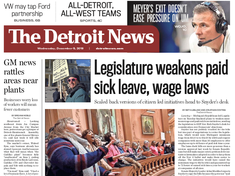 The front page of The Detroit News on Wednesday, December 5, 2018.
