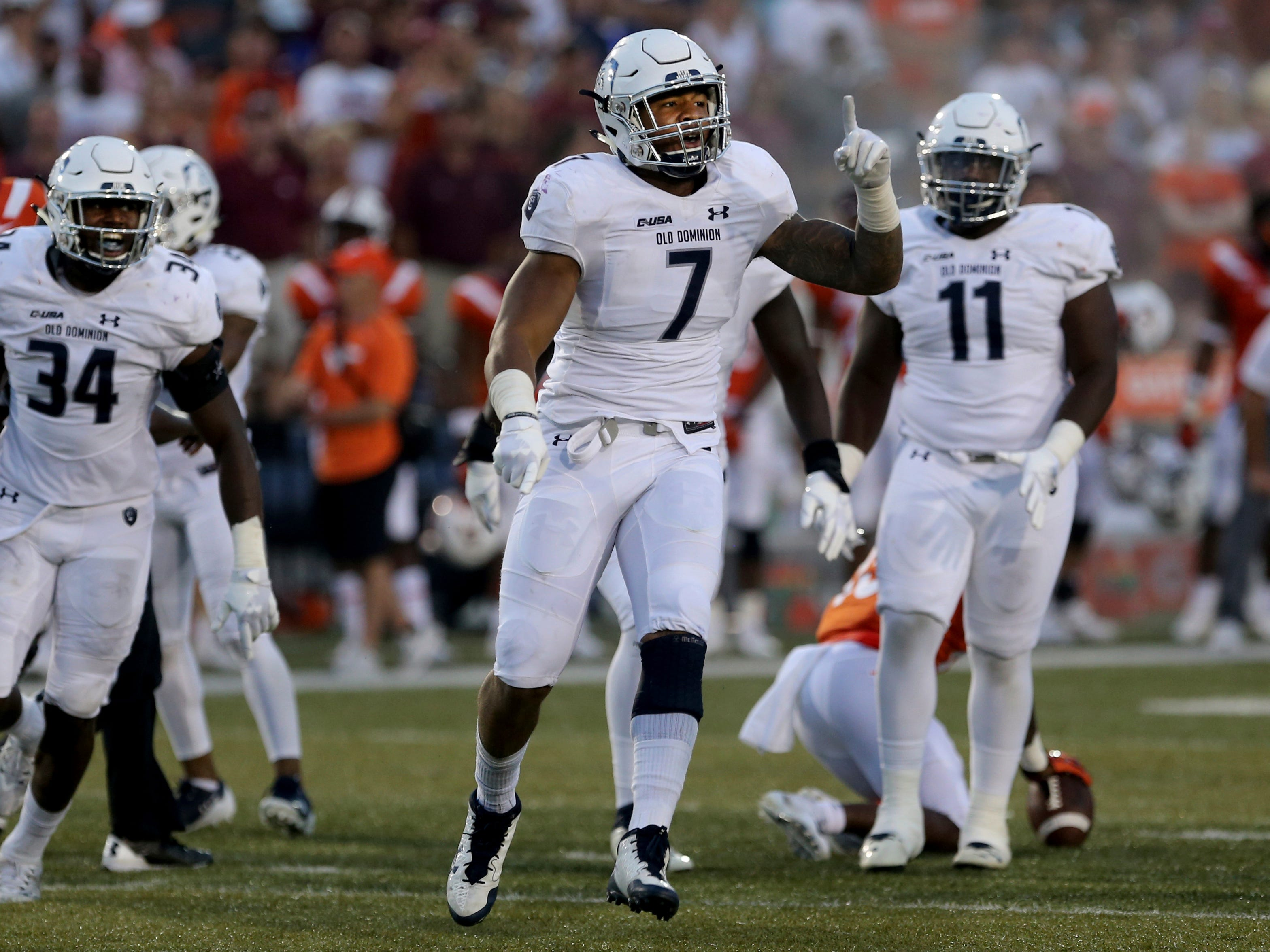 40. Oshane Ximines, DE, Old Dominion: Another small-school standout, Ximines doesn't have Ferguson's size. At 6-foot-3, 255 pounds, he's more likely to win with quickness than power. A fifth-year senior, he finished with a personal-best 12 sacks this season, while forcing at least three fumbles each of the past three years.