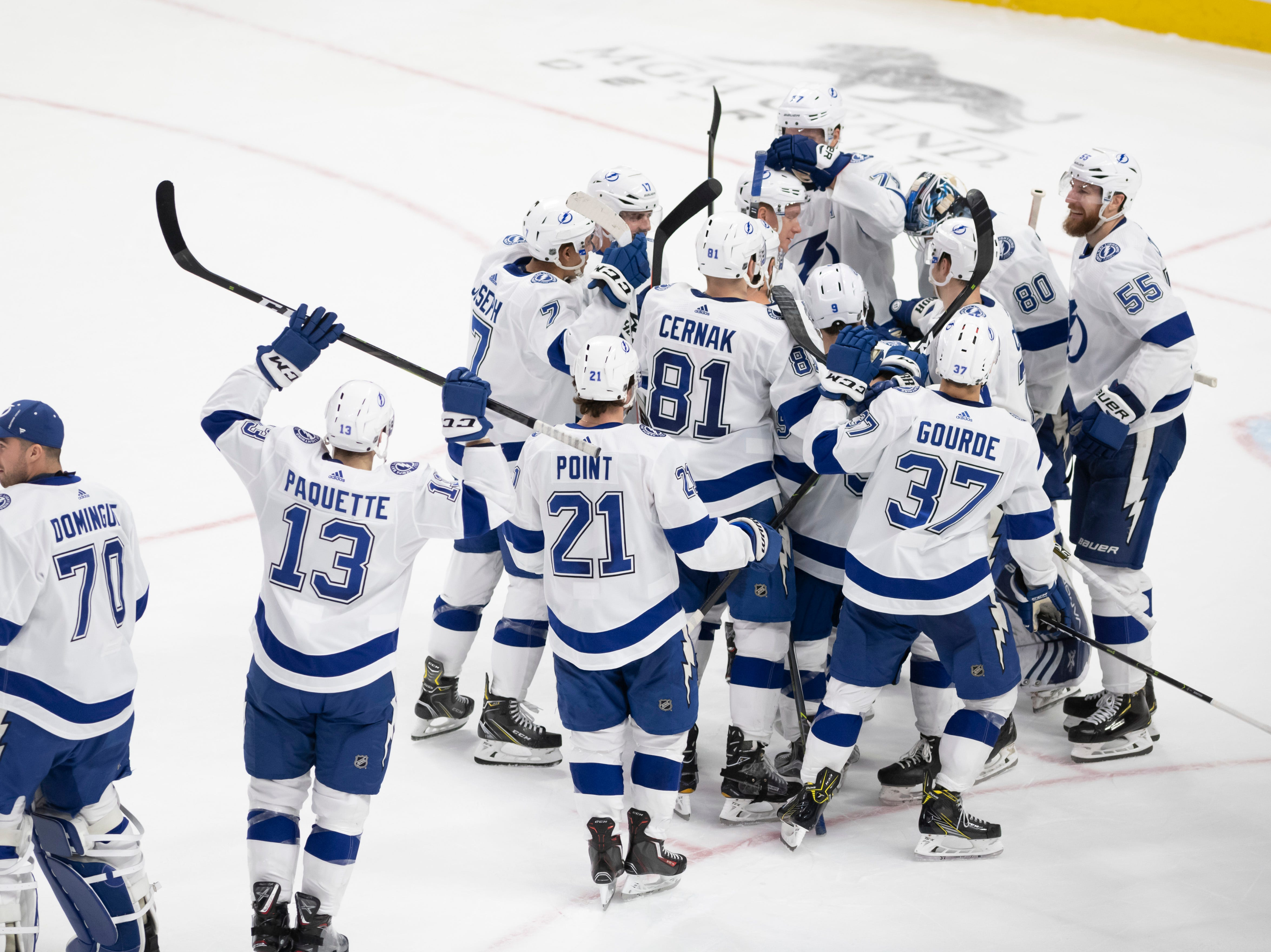 Tampa Bay celebrates their 6-5 shoot out win.