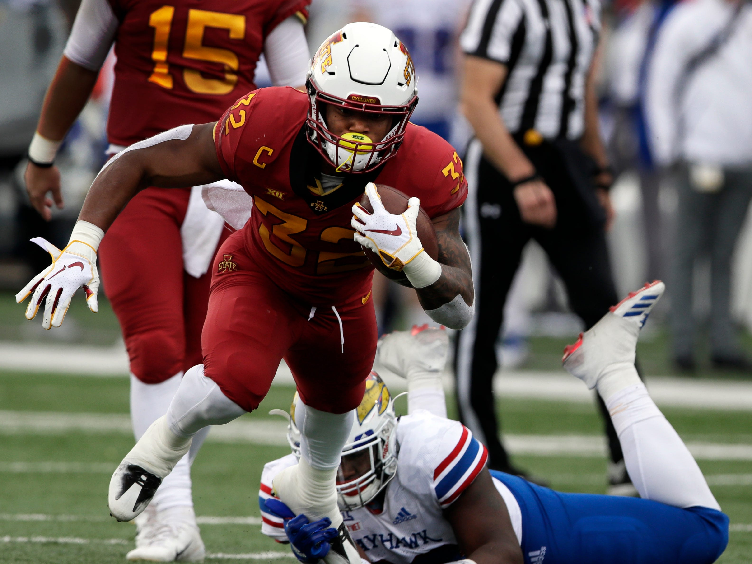 44. David Montgomery, RB, Iowa State: A grind-it-out workhorse for the Cyclones, Montgomery runs with physicality, while also providing the offense with a receiving threat out of the backfield.