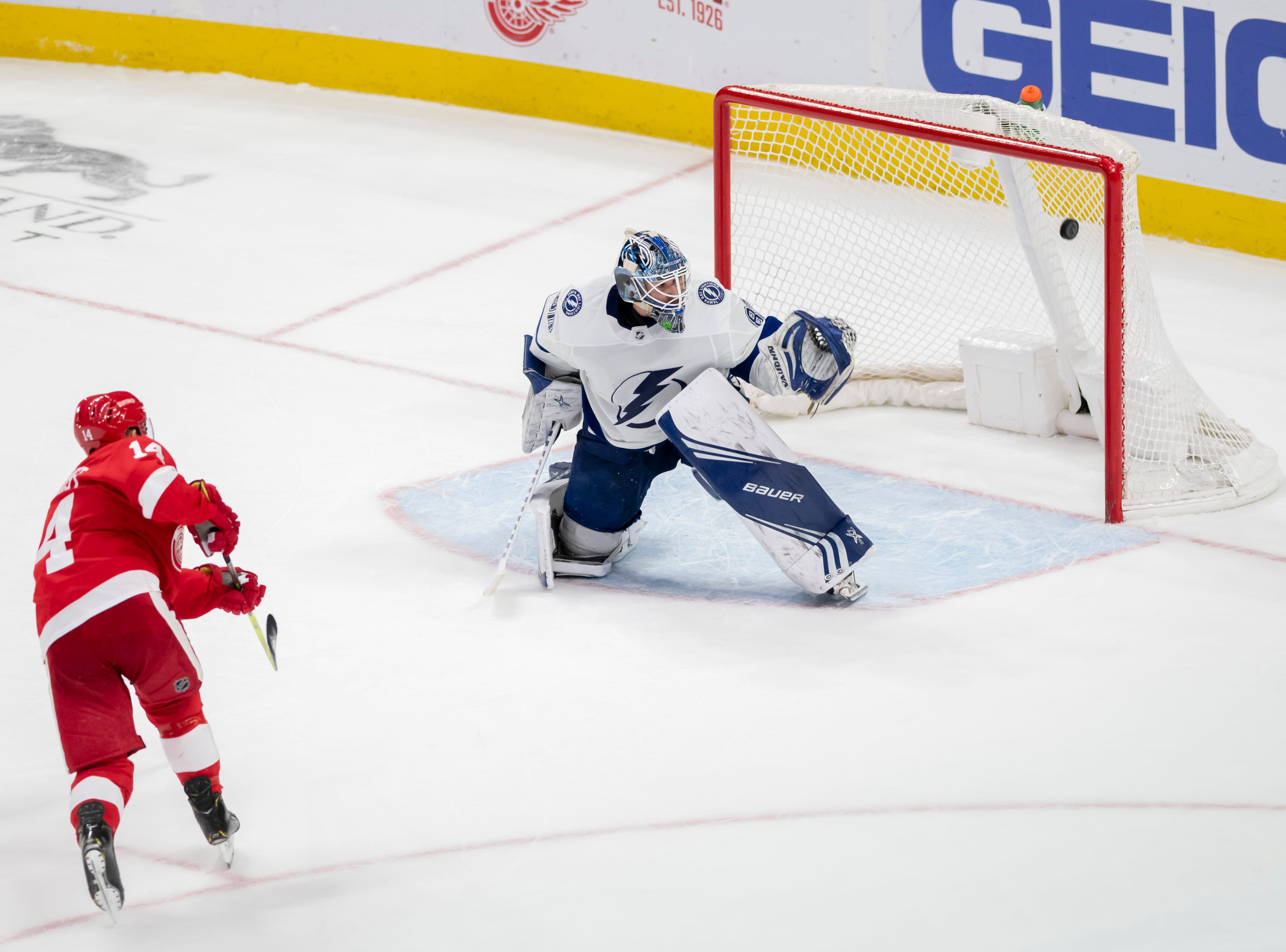 Detroit center Gustav Nyquist sends the puck past Tampa Bay goaltender Edward Pasquale for a goal during the shoot out.