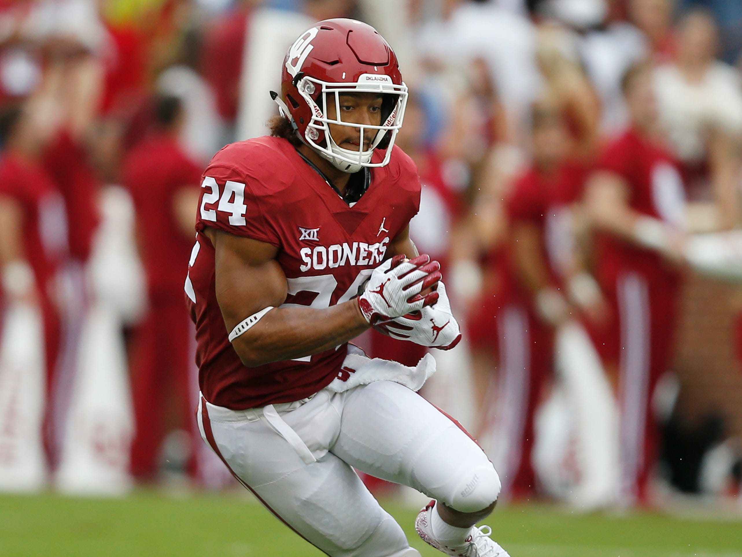 50. Rodney Anderson, RB, Oklahoma: Anderson missed much of this season with a knee injury, but he has enough tape to know what you're going to get in the 6-foot-1, 220-pounder. He runs with a good combination and power and balance, but with the patience of a more experienced rusher. The biggest concern would be his versatility, given limited receiving production and questionable pass-blocking skills.