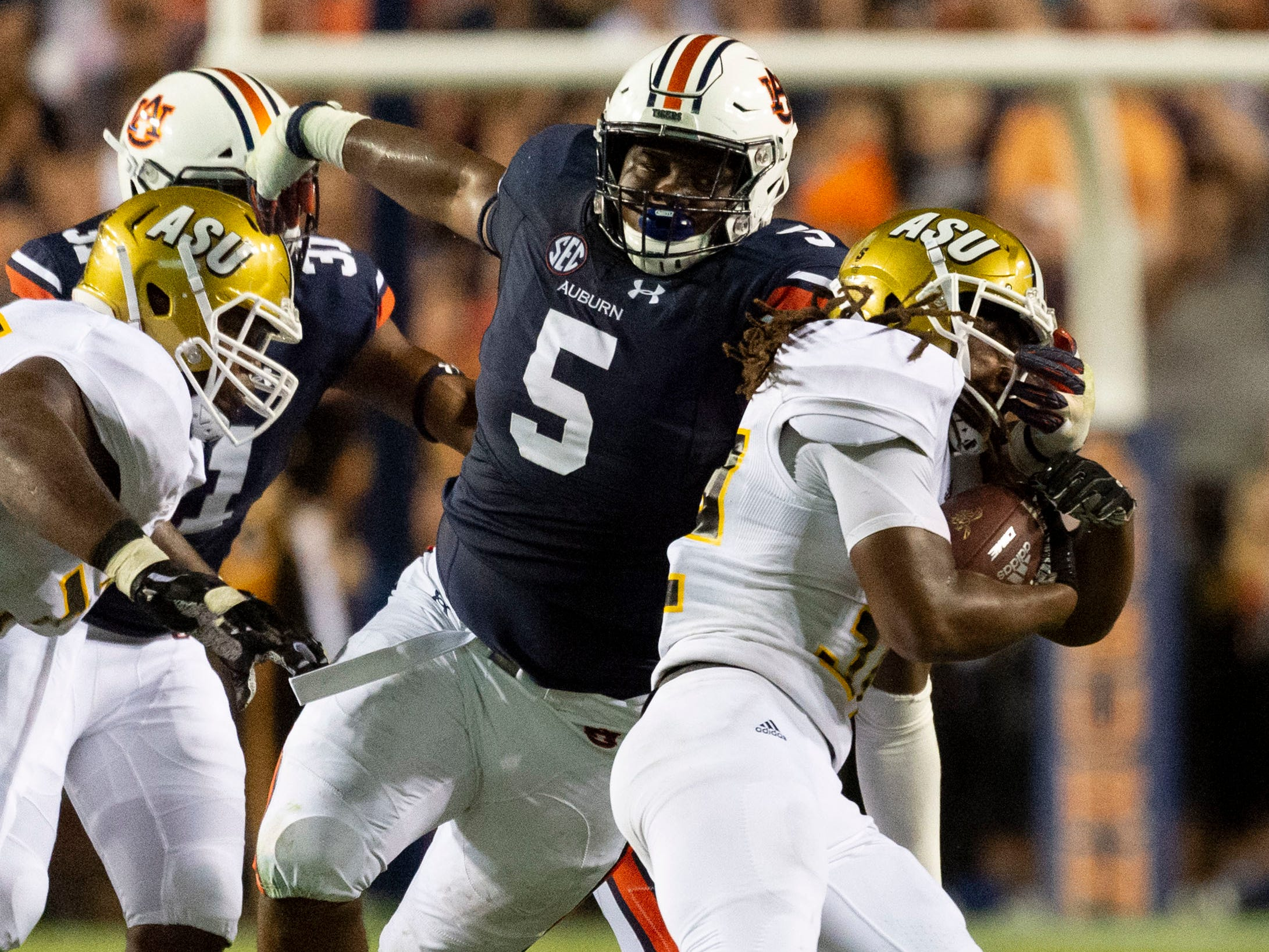 42. Derrick Brown, DT, Auburn: The 10th defensive tackle on this list, Brown is not spectacular at any one thing, but he's an all-around solid player who possesses the size and strength to hold up against the run and enough juice to occasionally disrupt the pocket on the pass-rush.