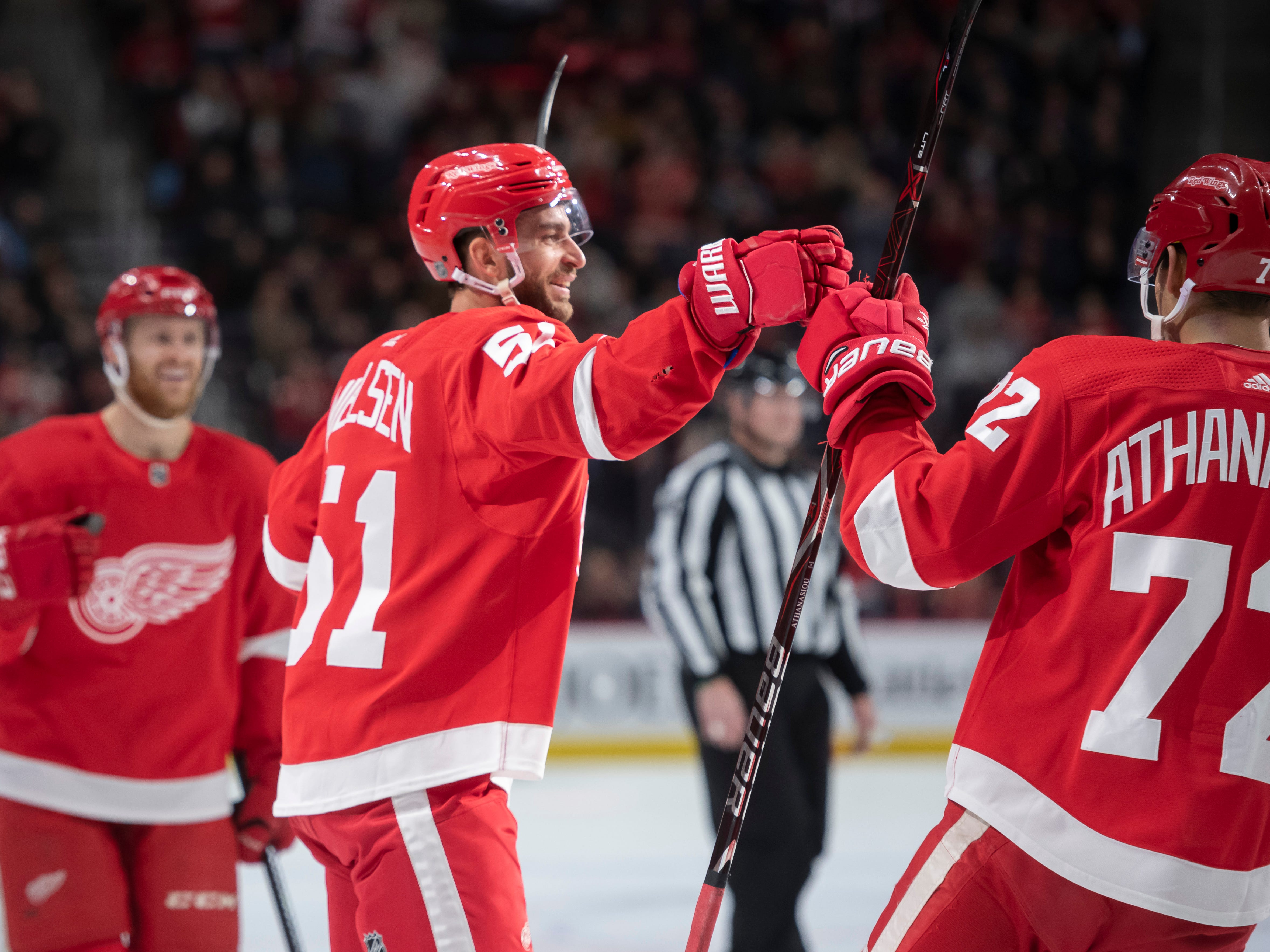 Detroit center Frans Nielsen celebrates his first period goal to make the score 2-0.