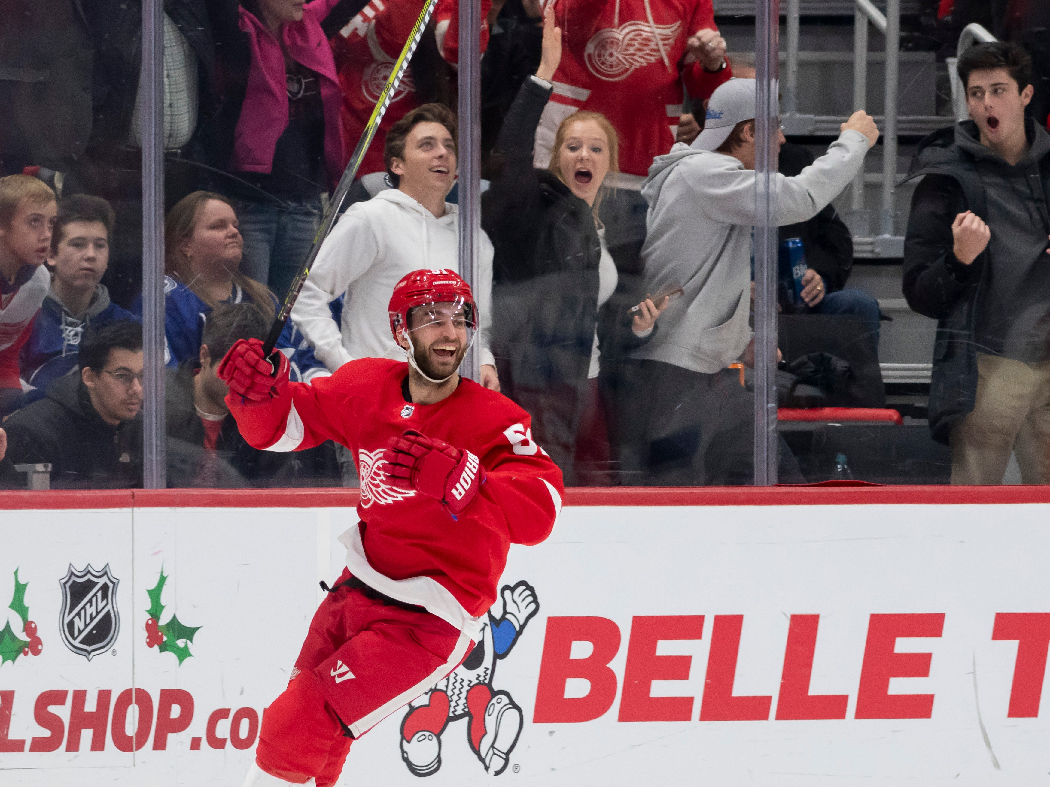 Detroit center Frans Nielsen celebrates his third goal of the game in the second period.