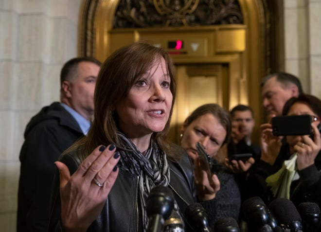 General Motors CEO Mary Barra speaks to reporters after a meeting with Sen. Sherrod Brown, D-Ohio, and Sen. Rob Portman, R-Ohio, to discuss GM's announcement it would stop making the Chevy Cruze at its Lordstown, Ohio, plant, on Capitol Hill Wednesday.