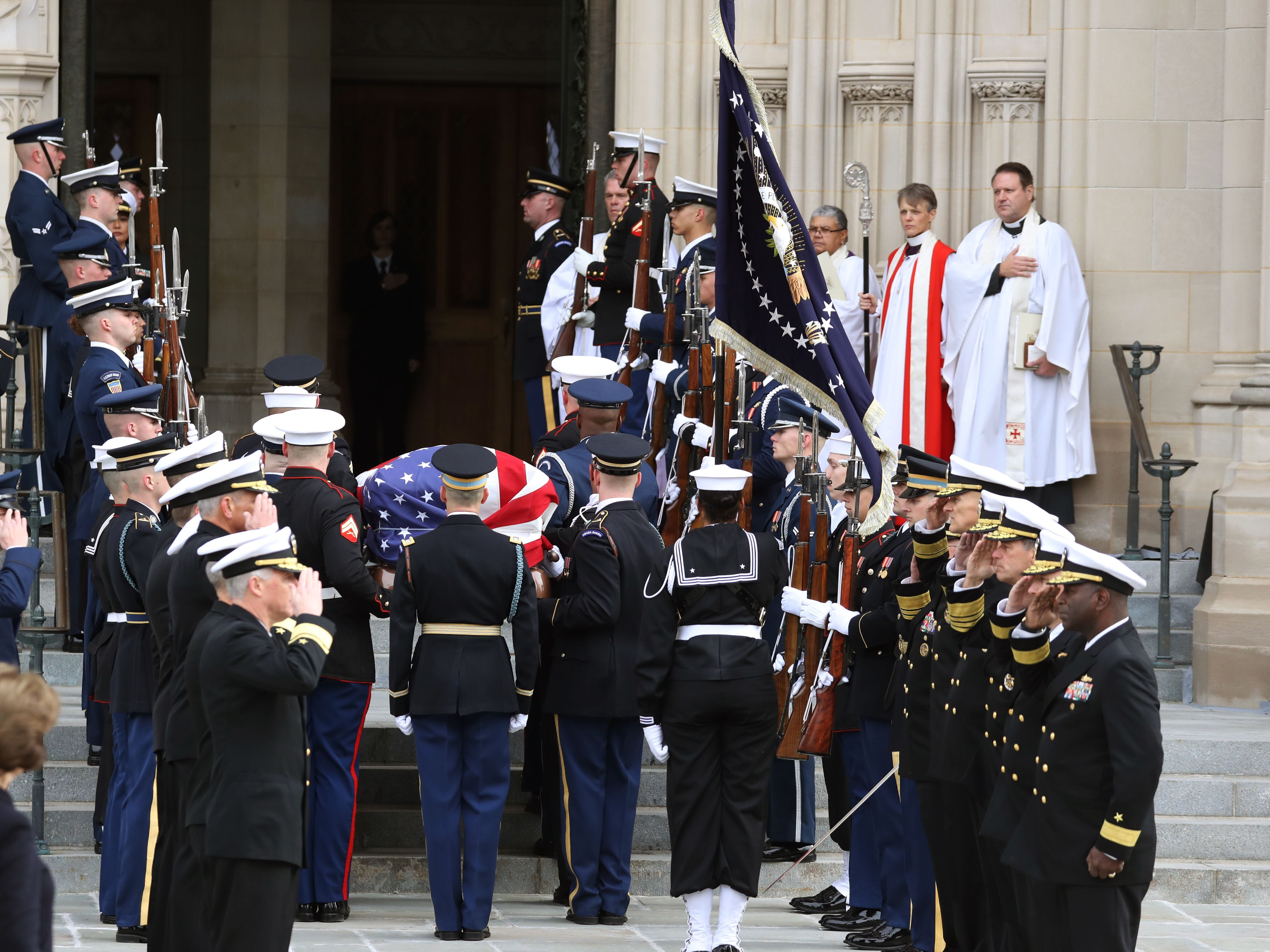 The remains of former U.S. President George H. W. Bush arrive at the National Cathedral in Washington, D.C., for his funeral on Dec. 5, 2018.