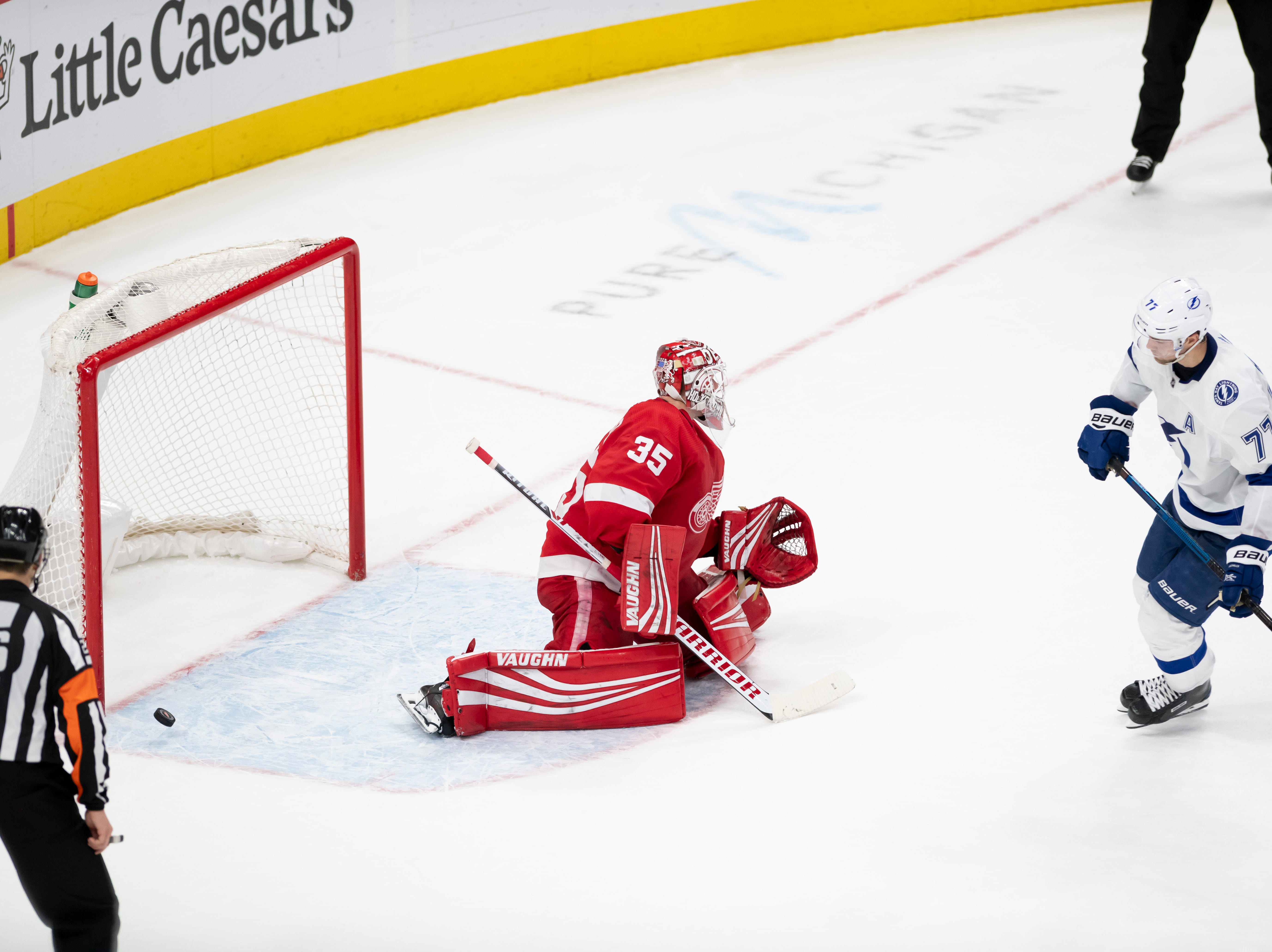 Tampa Bay defenseman Victor Hedman slips the puck past Detroit goaltender Jimmy Howard for a goal during the shoot out.
