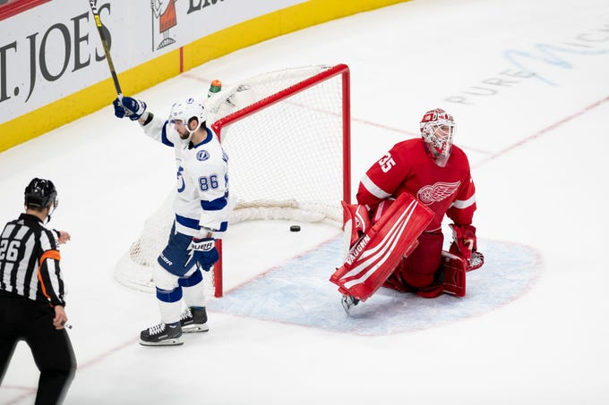 Tampa Bay right wing Nikita Kucherov celebrates after scoring the wining goal on Detroit goaltender Jimmy Howard during the shoot out in a 6-5 win over the Detroit Red Wings at Little Caesars Arena, in Detroit, December 4, 2018.