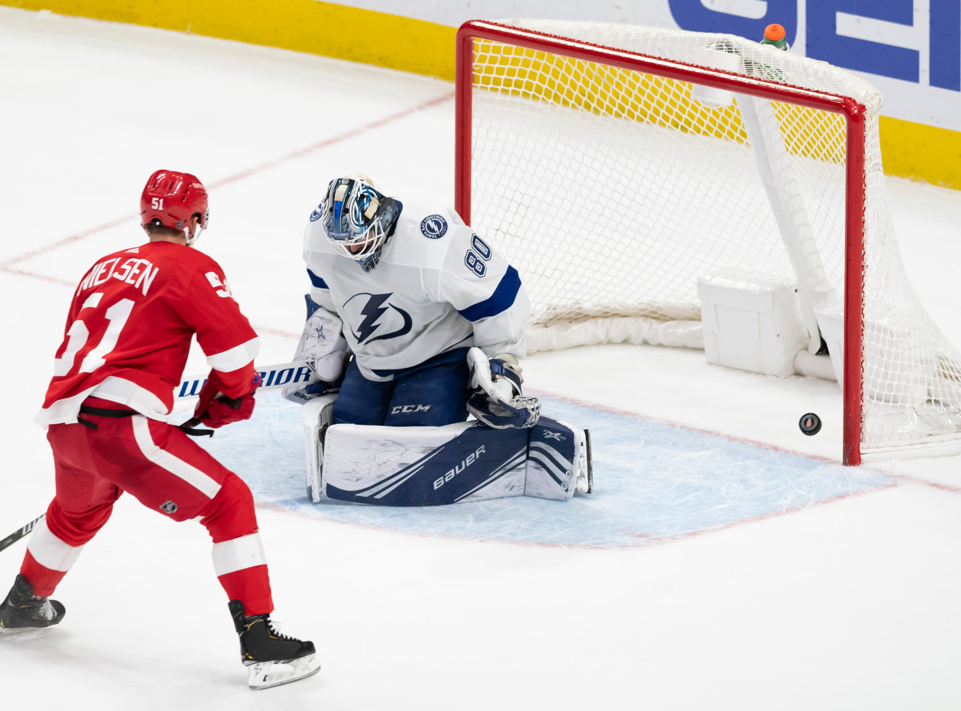 Detroit center Frans Nielsen fails to get the puck past Tampa Bay goaltender Edward Pasquale during the shoot out.
