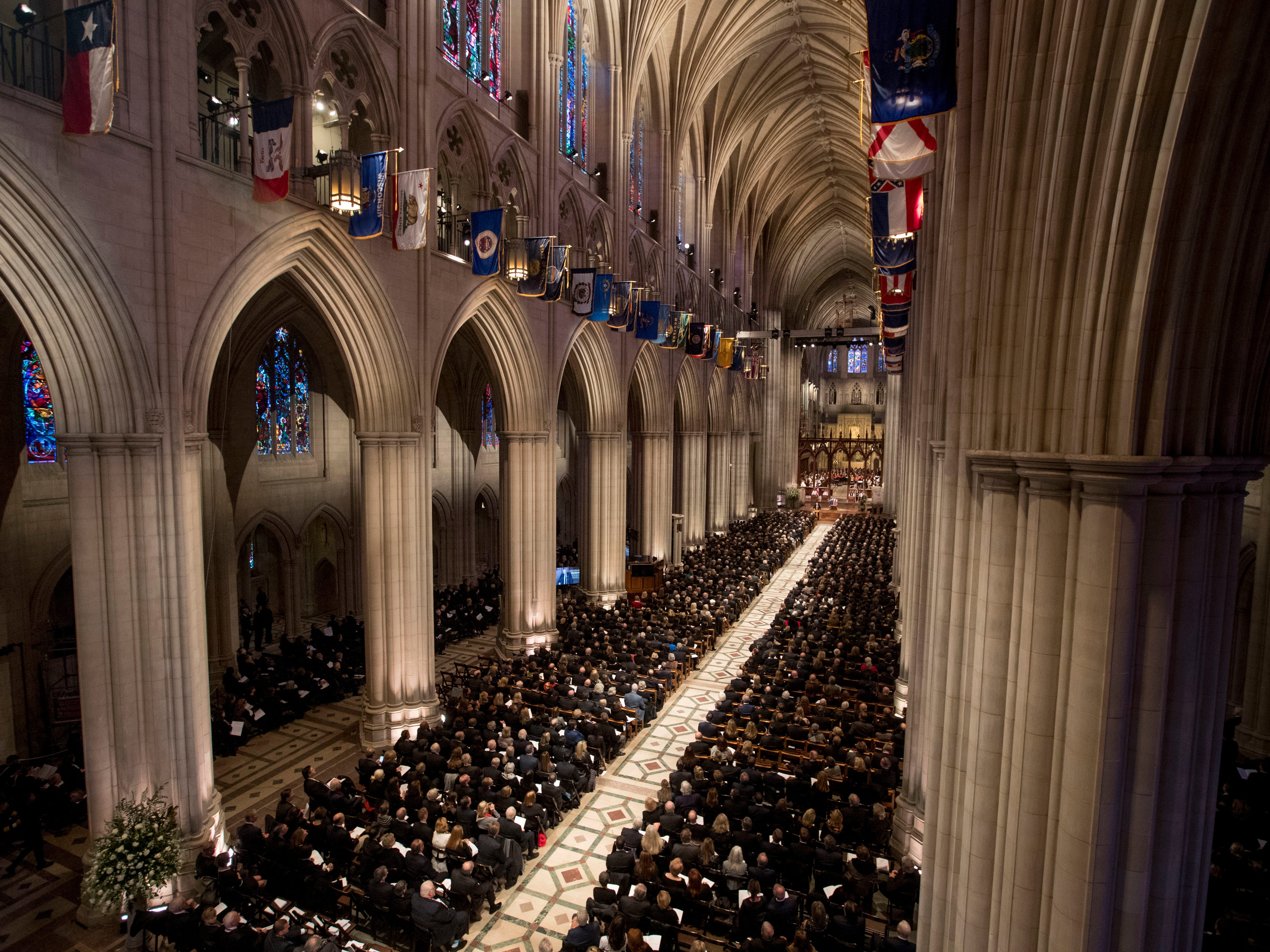 Mourners pack the National Cathedral in Washington for the State Funeral for former President George H.W. Bush.