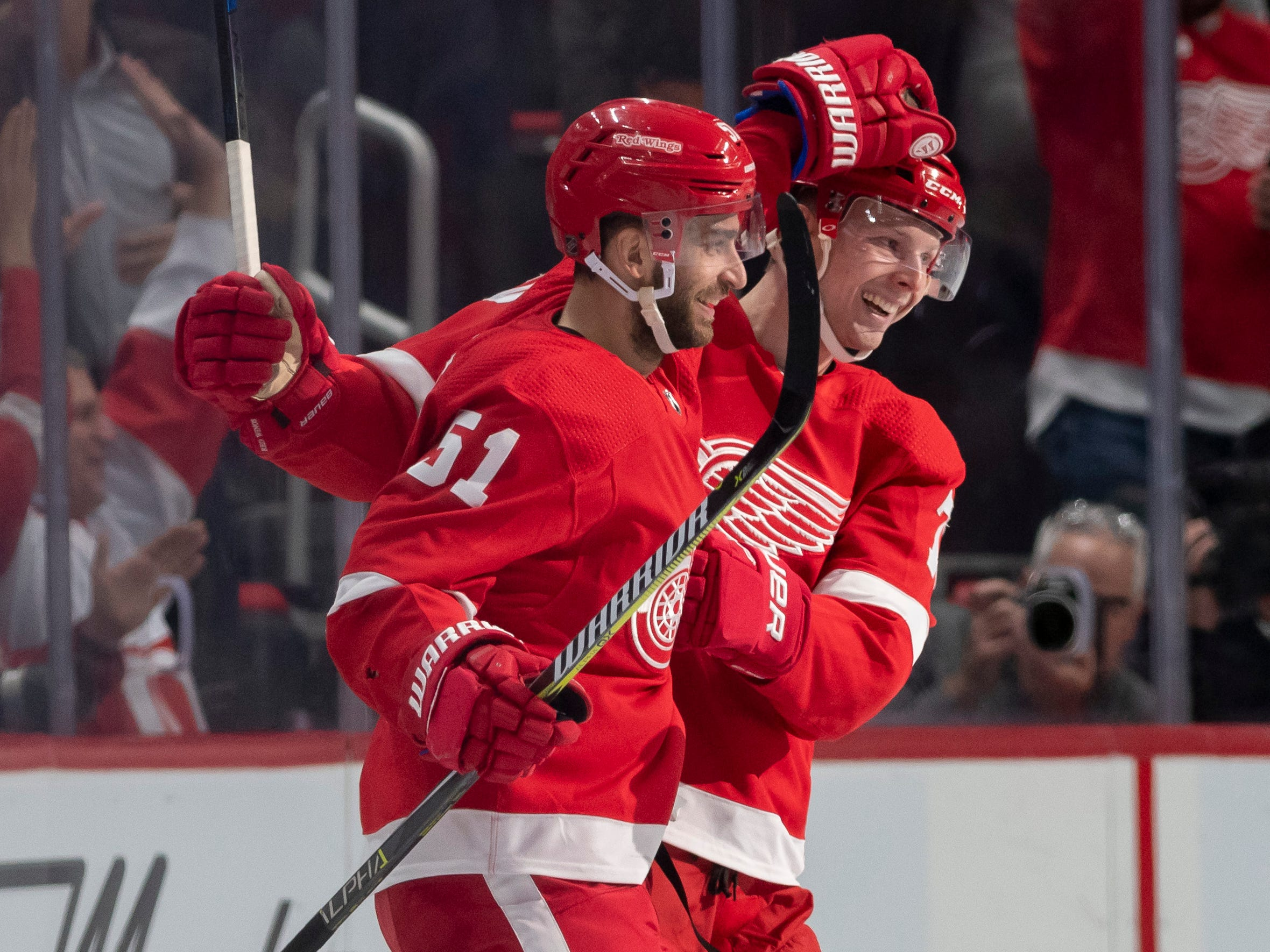 Detroit center Frans Nielsen, left, and center Christoffer Ehn celebrate Nielsen's second goal of the game in the second period.