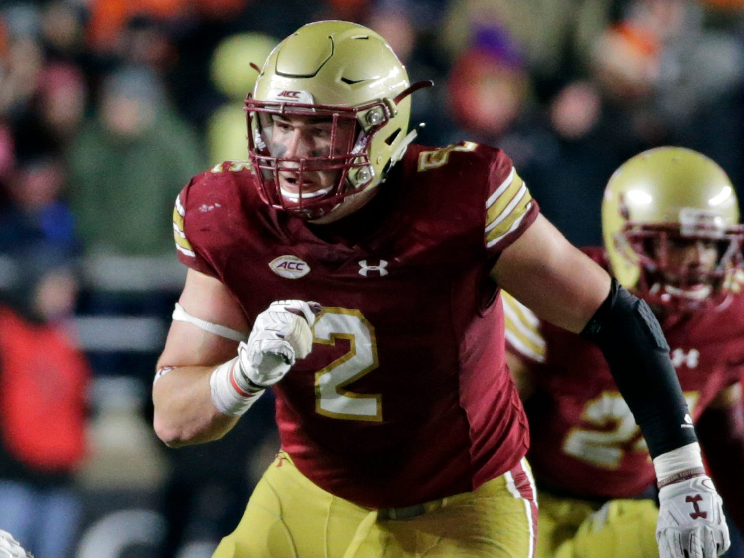 29. Zach Allen, DE, Boston College: Allen is a bigger-bodied edge player who should be stout against the run, while relying on his motor as a pass-rusher. He can slide inside on passing downs and has shown a knack for getting his hands in the passing lane, batting down seven balls this year.