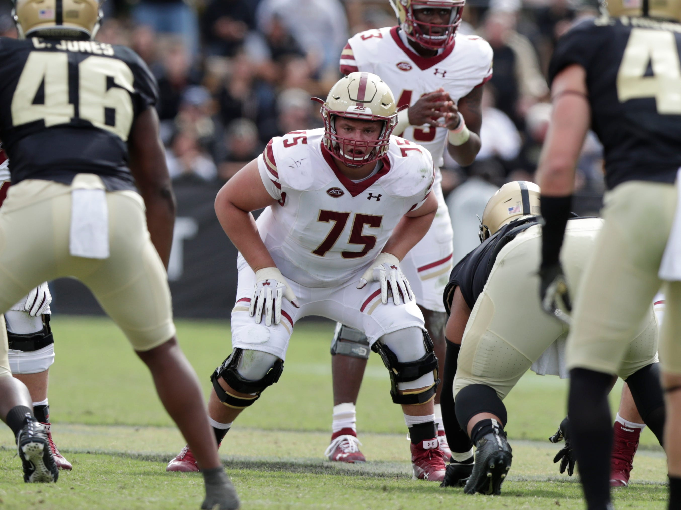 39. Chris Lindstrom, OL, Boston College: Powerful interior lineman with the necessary footwork to get to the second level and handle pulling assignments. There's going to be question marks about his pass protection, given Boston College's offensive system, but Lindstrom appears to be solid in every regard, especially clearing holes in the run game.