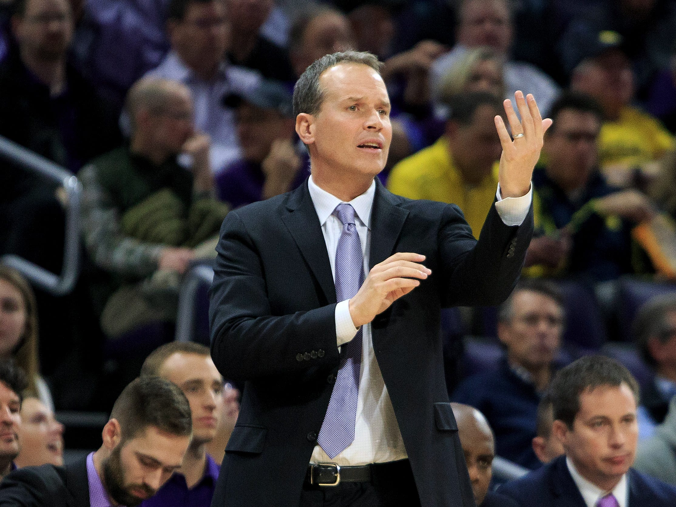 Northwestern head coach Chris Collins  directs his team in the first half.