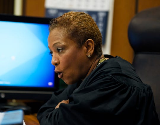 """""""You assisted this monster in the drowning of your beautiful, precious gift,"""" Judge Vonda Evans  told Candice Diaz,  referring to her boyfriend Brad Field's role in the death of her daughter Gabby Barrett."""