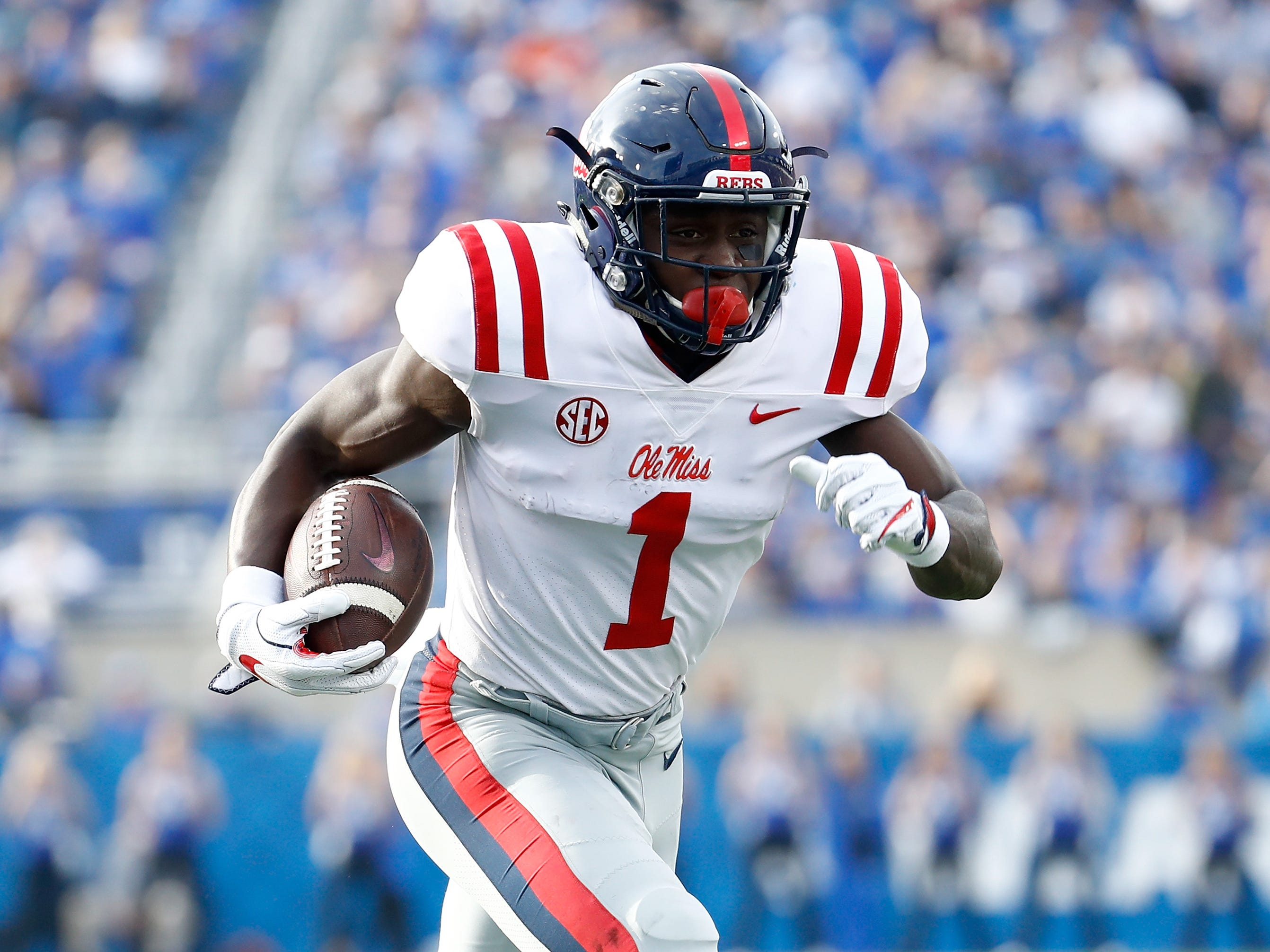 37. A.J. Brown, WR, Ole Miss: A sturdy-bodied receiver with limbs that allow him to play bigger than his 6-foot-1 frame. Brown put up big numbers this season, catching 85 passes for 1,320 and six scores. He brings added versatility, frequently working out of the slot for Ole Miss.