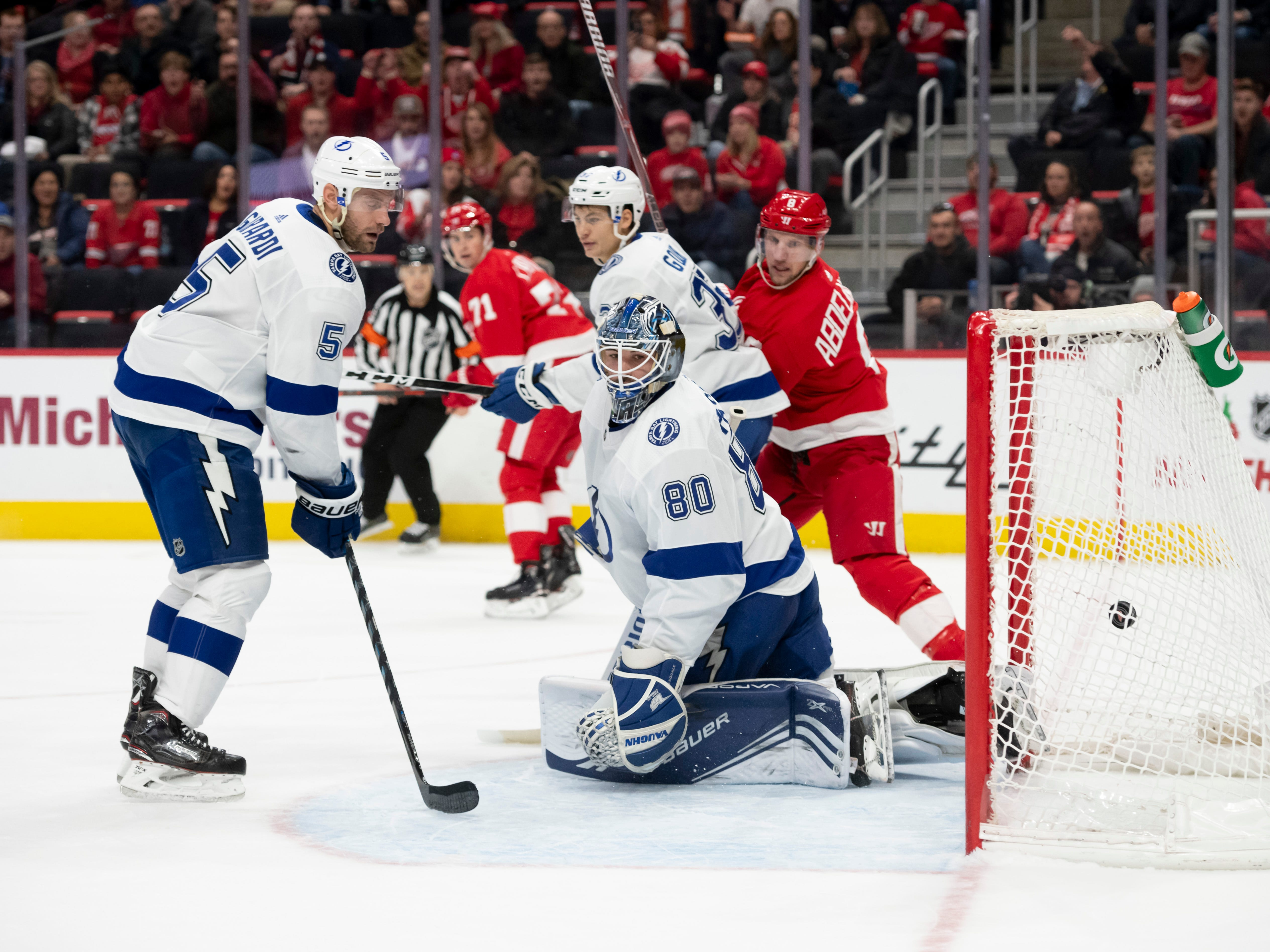 A goal by Detroit center Gustav Nyquist (not pictured) slips past Tampa Bay goaltender Edward Pasquale in the first period.