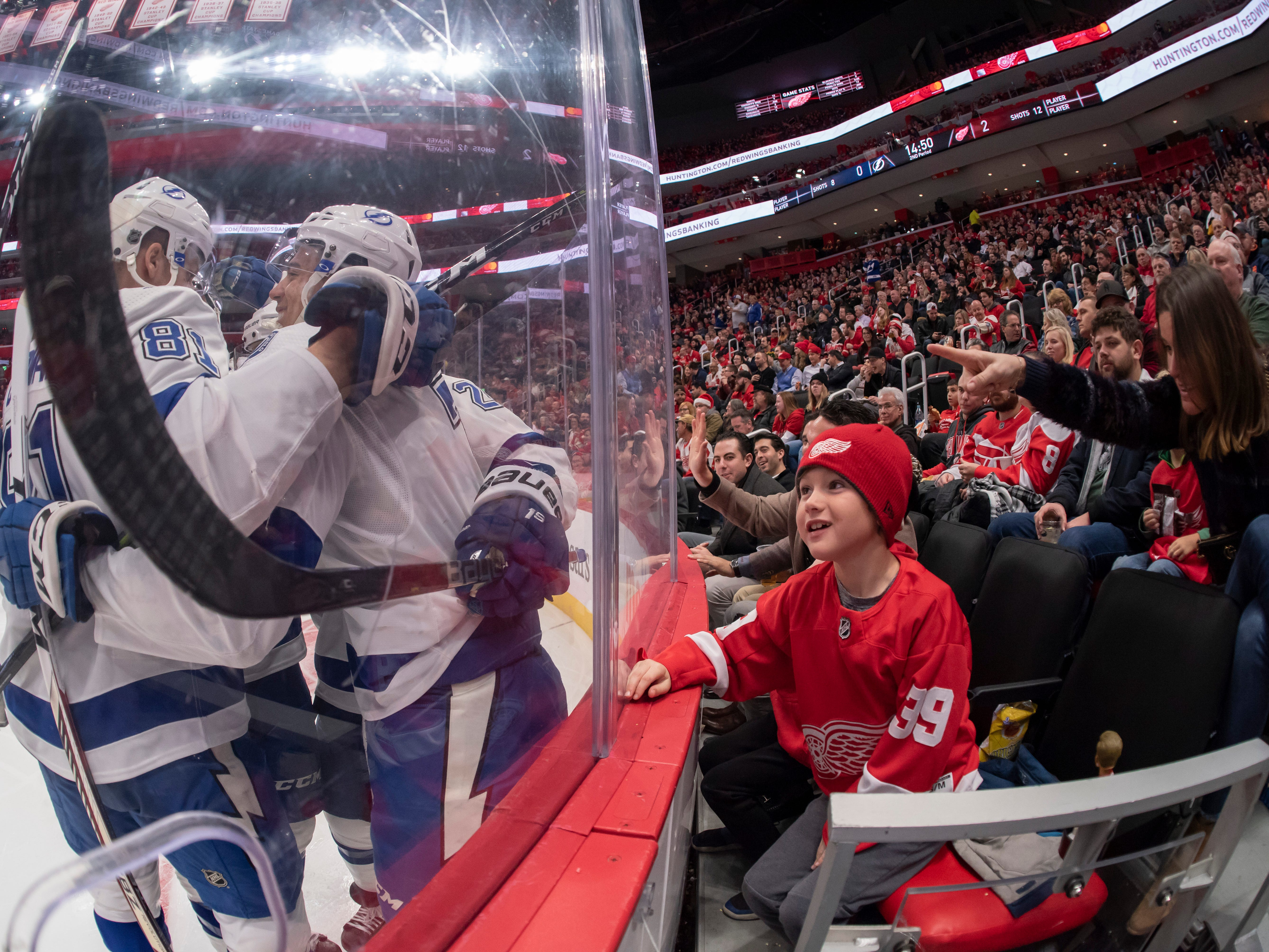 A young Detroit fan watches as Tampa celebrates a goal by right wing Mathieu Joseph in the second period.