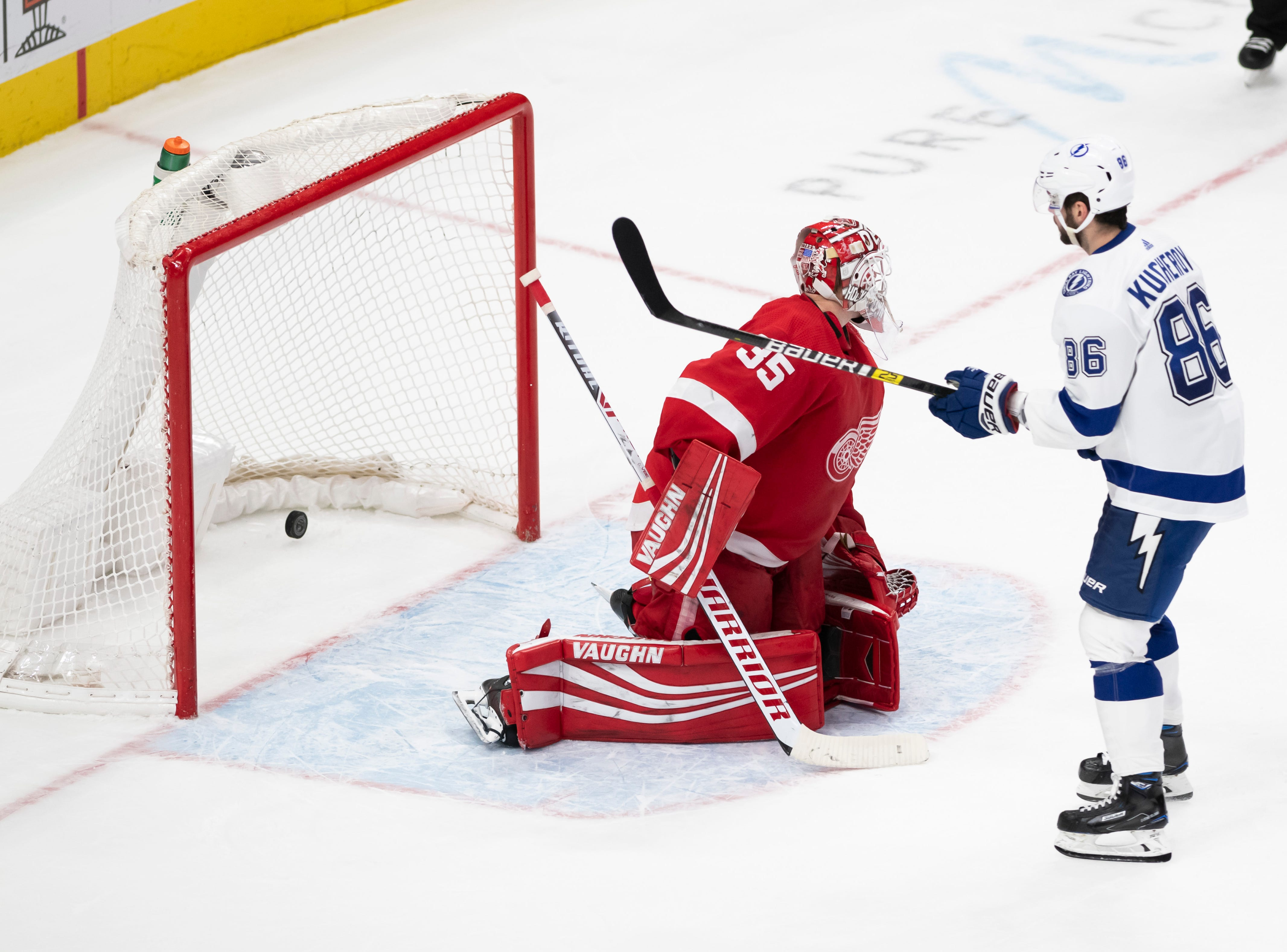 Tampa Bay right wing Nikita Kucherov sends the puck past Detroit goaltender Jimmy Howard for the winning goal during the shoot out.