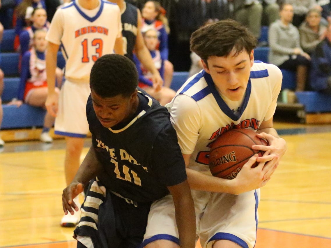 Elmira Notre Dame was a 76-64 winner over Thomas A. Edison in boys basketball Dec. 4, 2018 in Elmira Heights.
