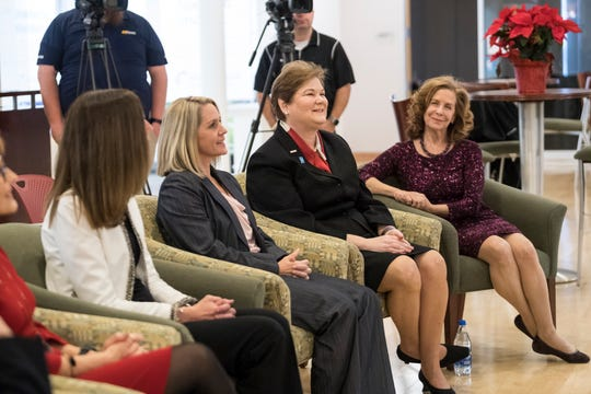 Gina Gibson, from left, Mary Kessler, Carrie Roelle, Millie Marshall, Denna Laska Lewis and Susan Parsons, not pictured, are named the 2019 Athena Award finalists during a press conference at the Southwest Indiana Chamber Offices in Evansville, Tuesday, Dec. 4, 2018.