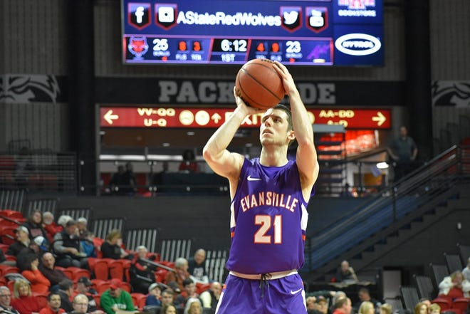 Evansville guard Shea Feehan scored 20 points for the third time this season. His 21 points were an Aces' career-high in an 87-77 loss at Arkansas State.