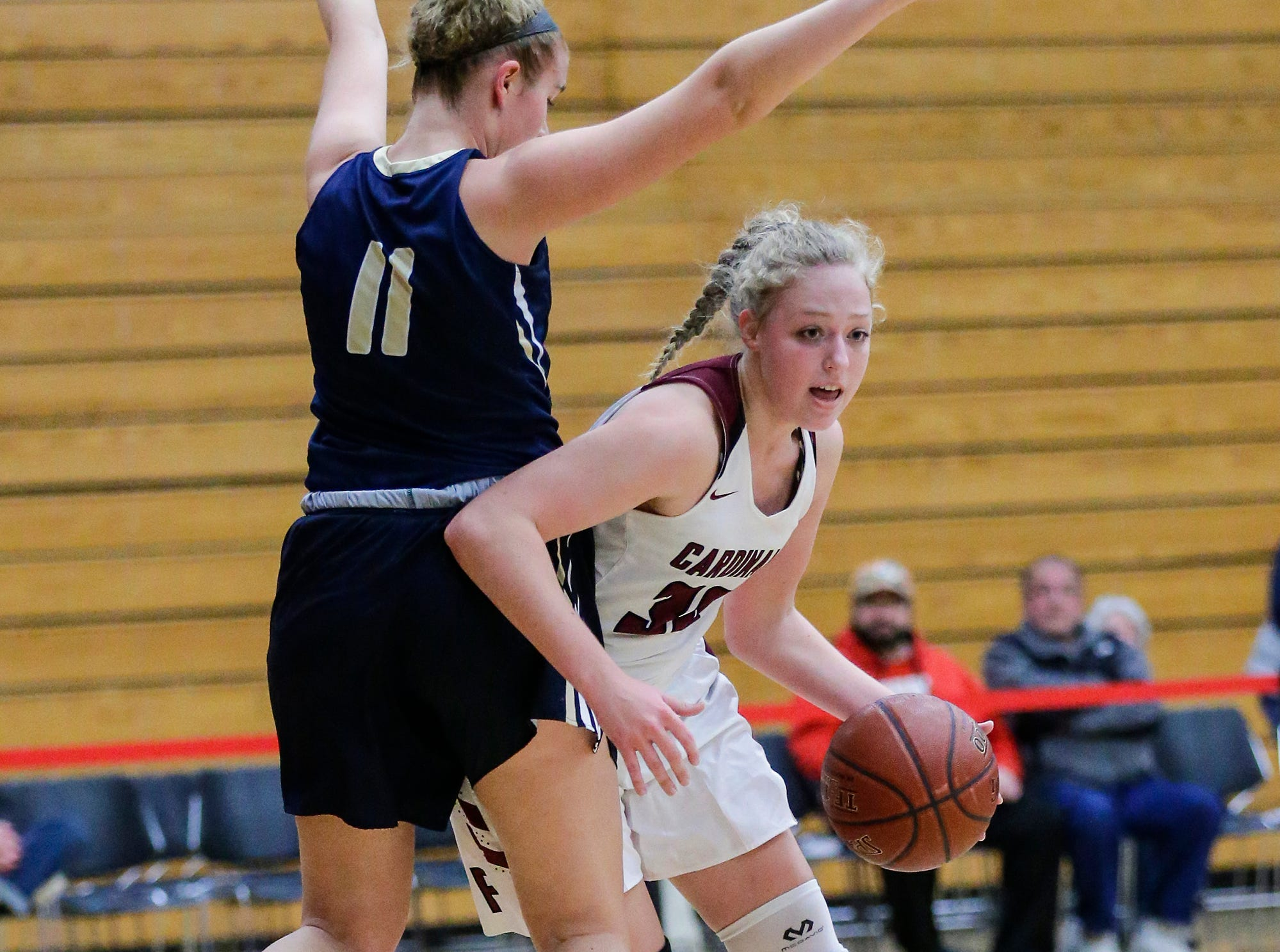 Fond du Lac High School girls basketball's Madison Dille dribbles that ball past Appleton North High School's Emma Erickson during their game Tuesday, December 4, 2018 in Fond du Lac, Wisconsin. Doug Raflik/USA TODAY NETWORK-Wisconsin