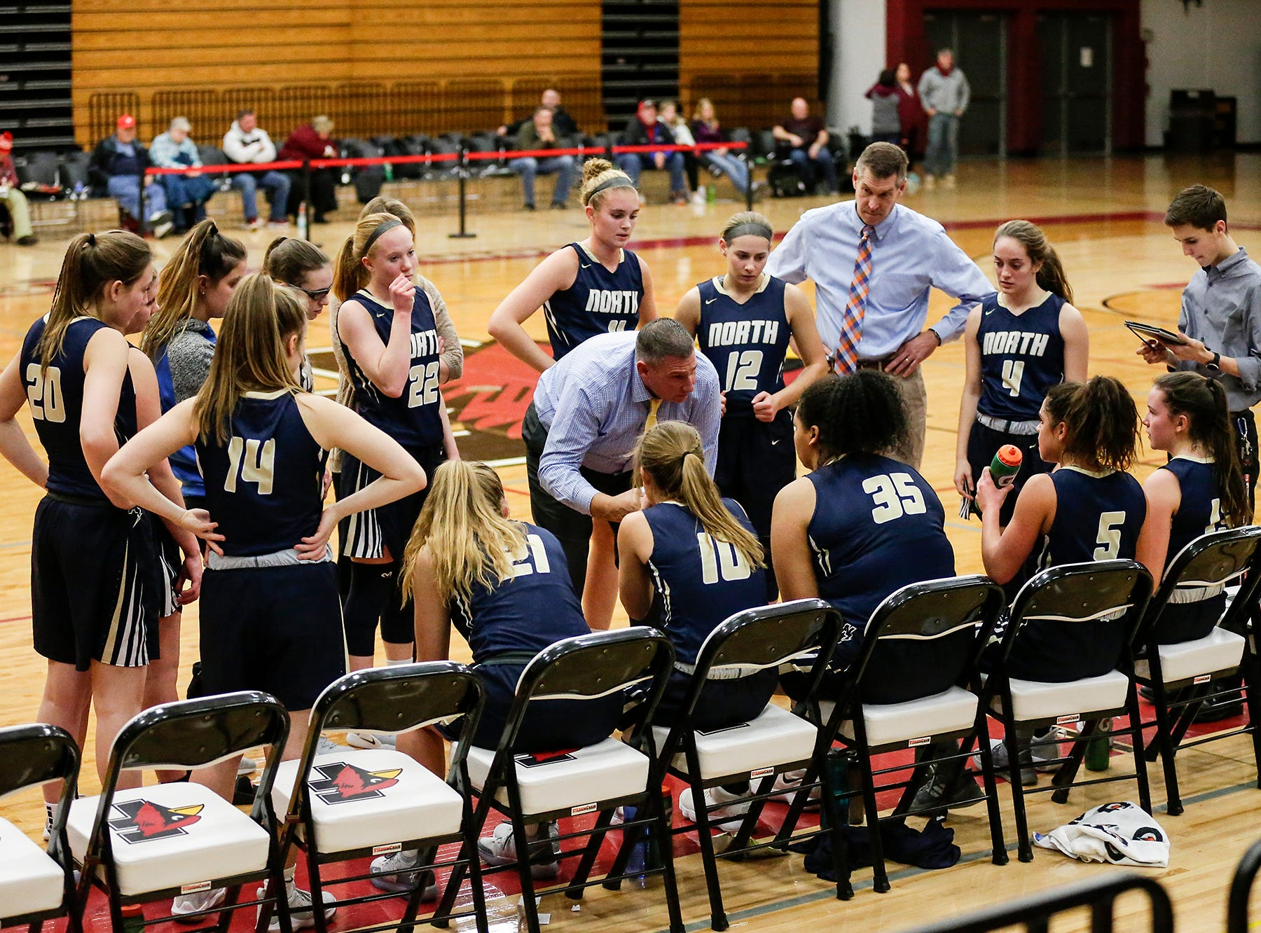 Appleton North High School girls basketball's coach Darren Prusinski talks with his team during a time out during their game against Fond du Lac High School Tuesday, December 4, 2018 in Fond du Lac, Wisconsin. Doug Raflik/USA TODAY NETWORK-Wisconsin