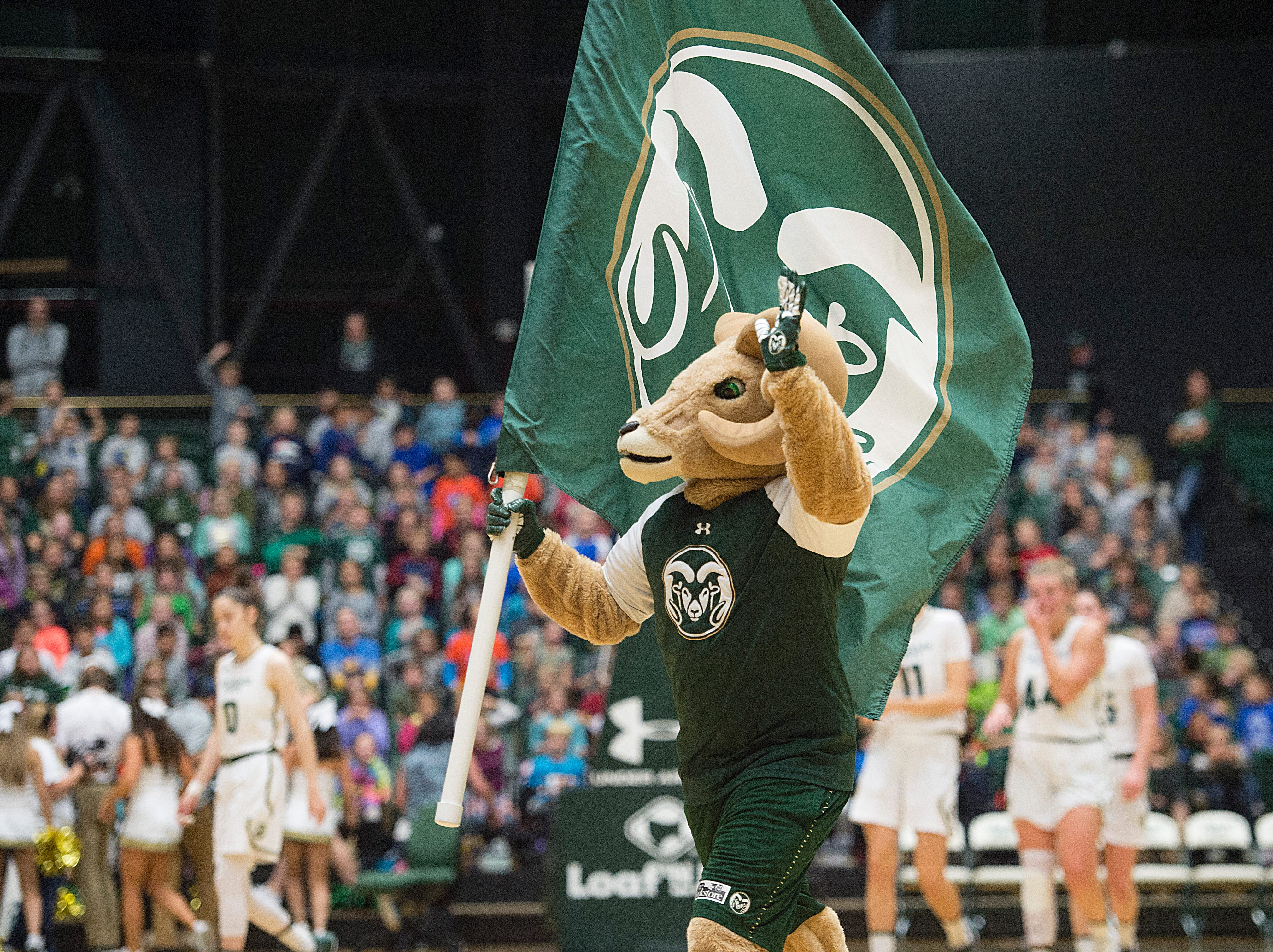 CSU mascot CAM the Ram hypes up the crowd during a game against Northern Arizona at Moby Arena on Wednesday, December 5, 2018.