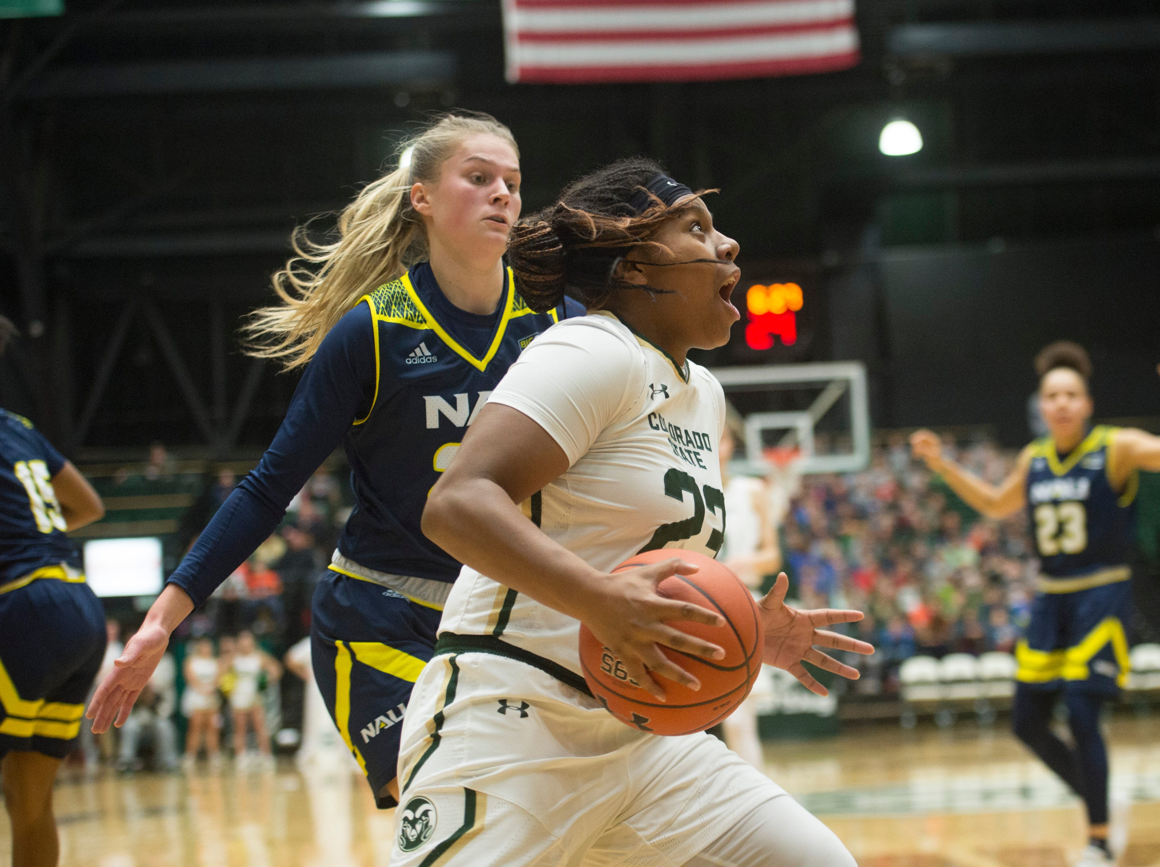 CSU guard Grace Colaivalu looks up during a drive to the basket during a game against Northern Arizona at Moby Arena on Wednesday, December 5, 2018.