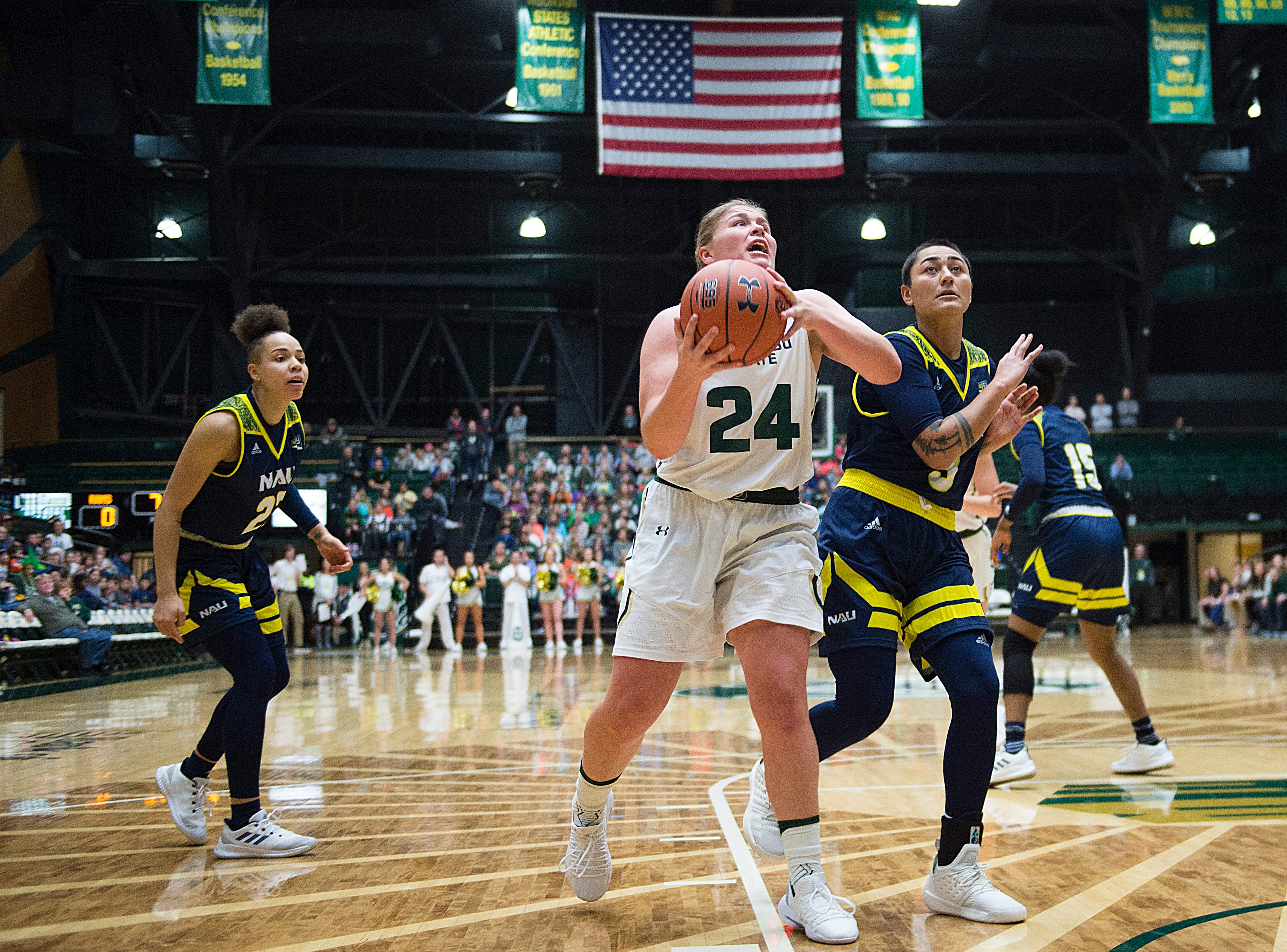 CSU guard Mollie Mounsey breaks through Lumberjacks defense during a game against Northern Arizona at Moby Arena on Wednesday, December 5, 2018.