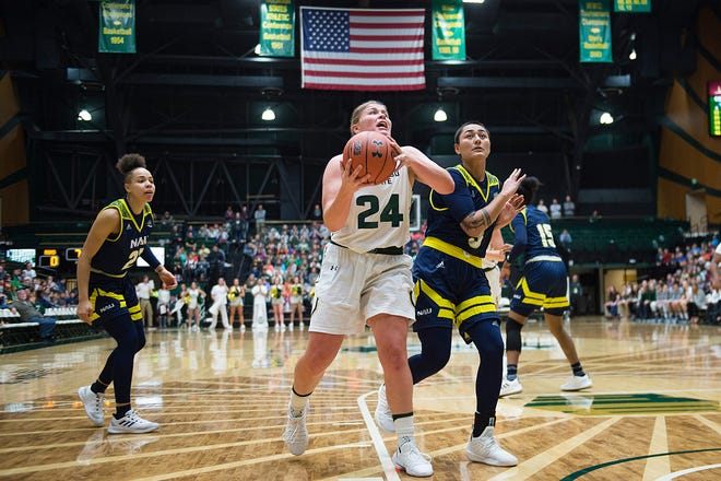 CSU women's basketball player Mollie Mounsey, shown in a Dec. 5 home game against Northern Arizona, made seven 3-pointers Saturday and scored 21 points for the Rams in a 51-42 loss at BYU.