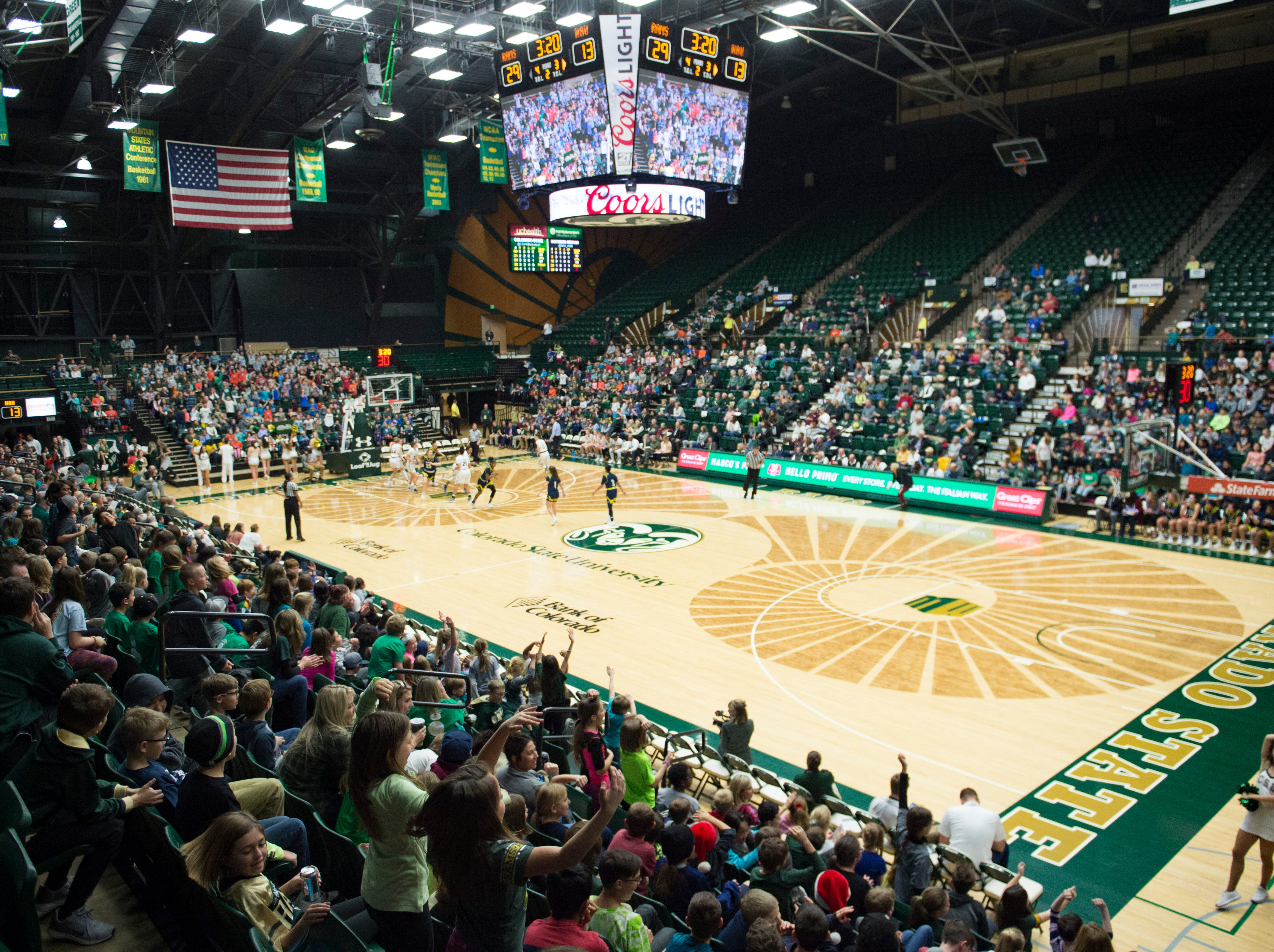 About 1,600 area elementary school students cheer on the Rams as they take on Northern Arizona at Moby Arena on Wednesday, December 5, 2018.