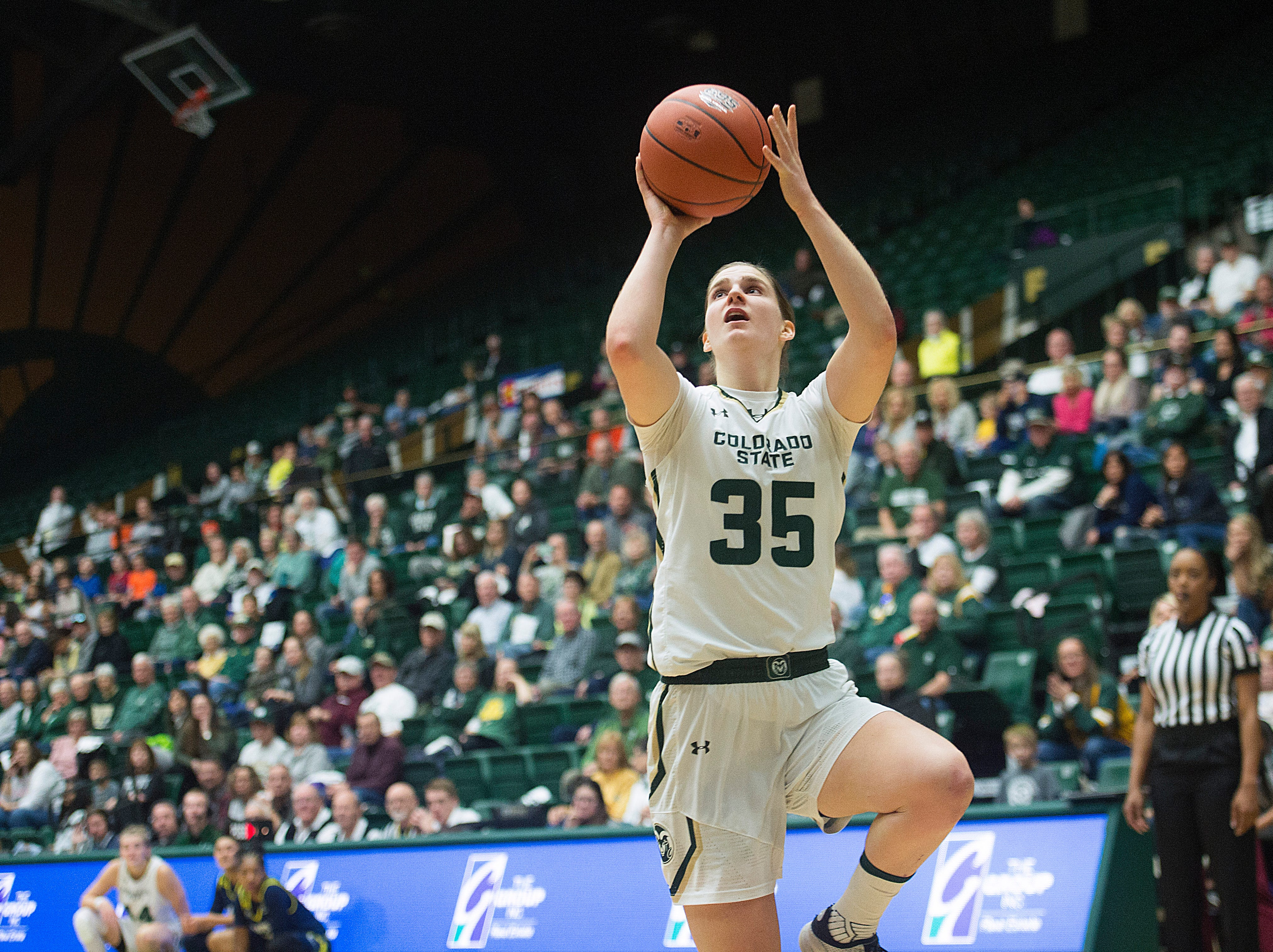 CSU guard Lore Devos jumps for a two point attempt during a game against Northern Arizona at Moby Arena on Wednesday, December 5, 2018.