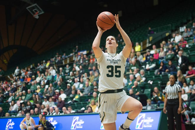 Colorado State women's basketblal player Lore Devos puts up a shot during a Dec. 5, 2018, game at Moby Arena. Devos is one of two returning starters on a CSU team that was picked to finish eighth in the Mountain West in a preseason poll released Thursday.