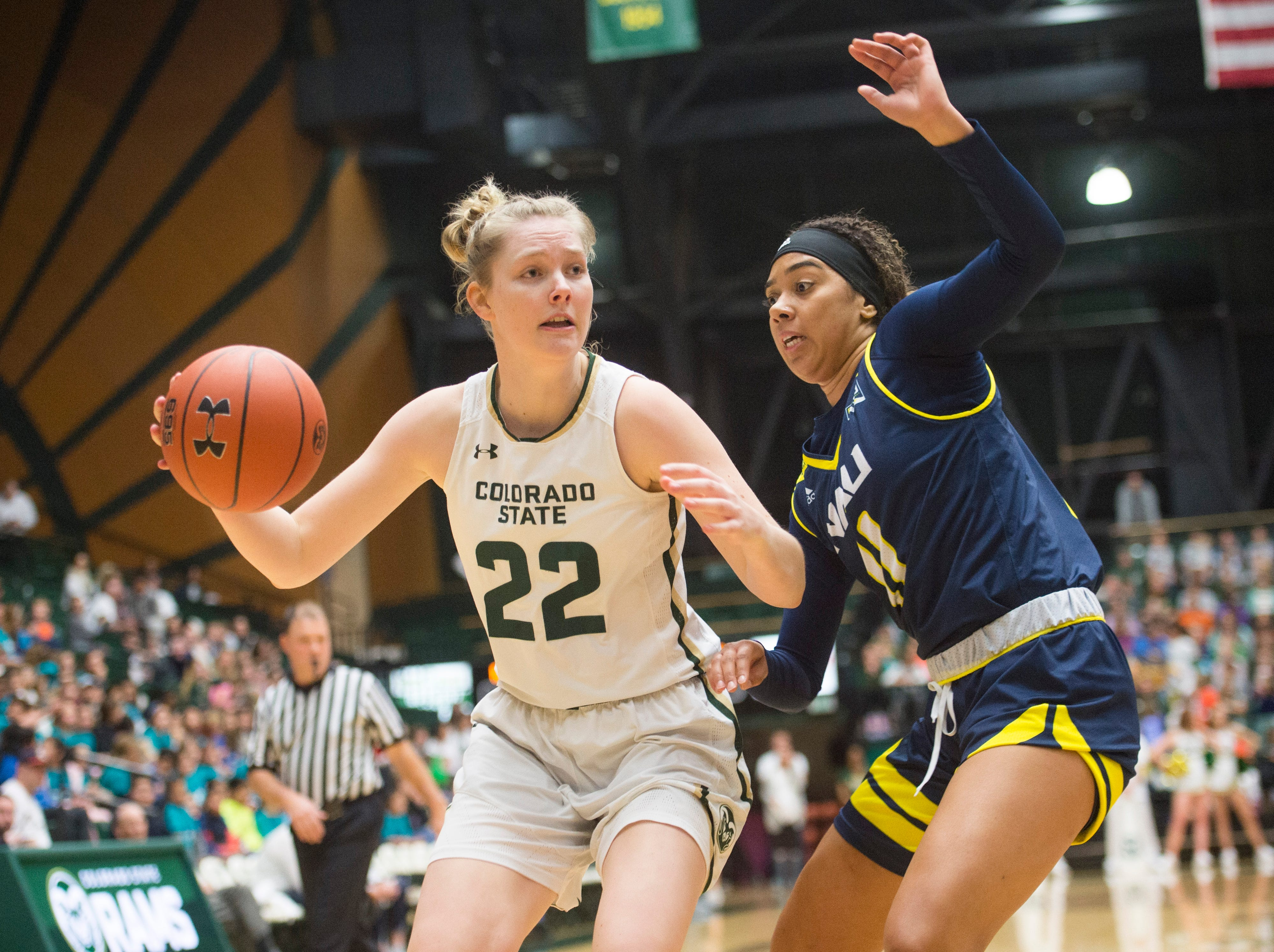 CSU's Lauren Brocke tries to get around Lumberjacks defense during a game against Northern Arizona at Moby Arena on Wednesday, December 5, 2018.