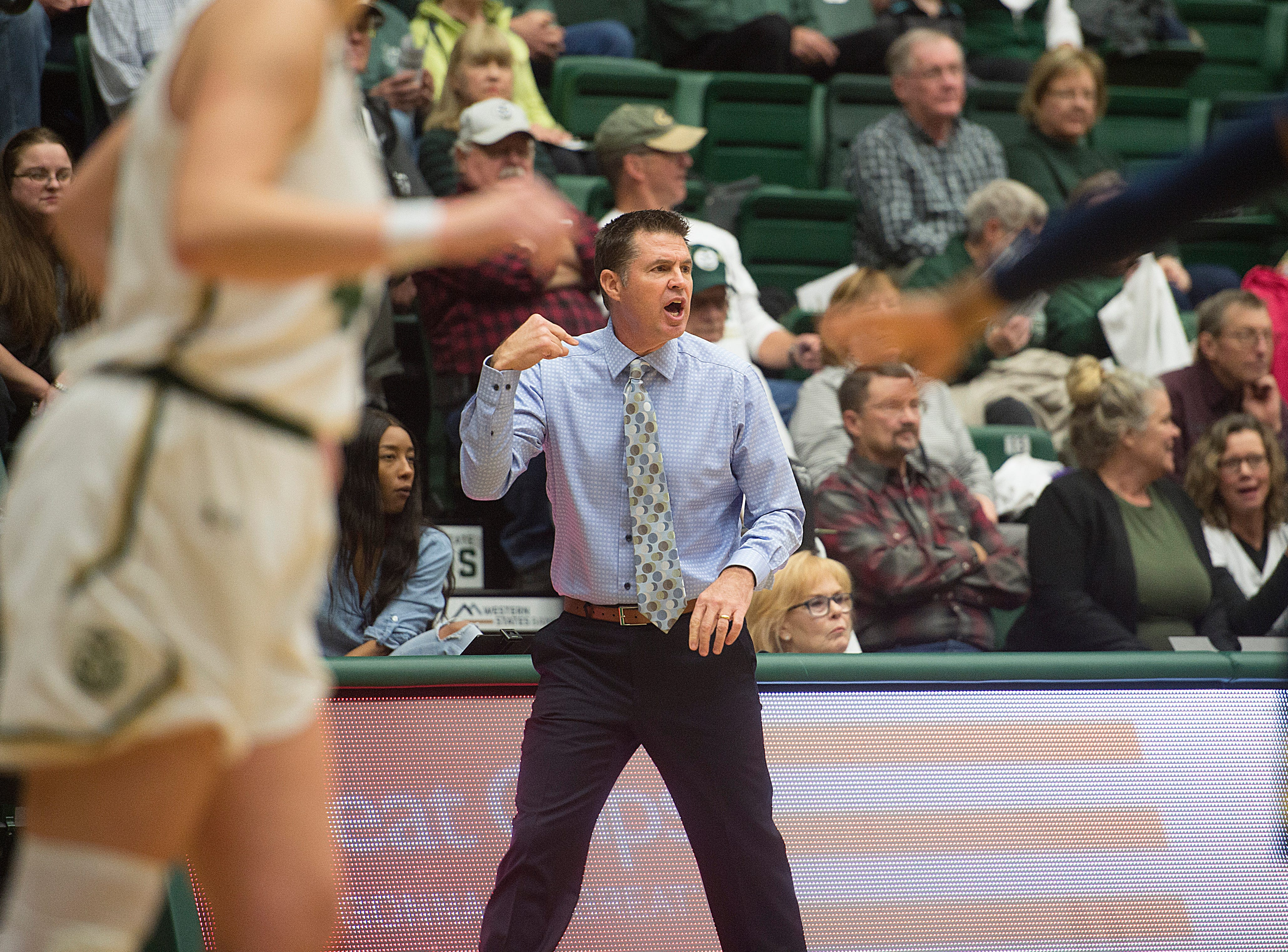 CSU coach Ryun Williams gives instructions to the Rams during a game against Northern Arizona at Moby Arena on Wednesday, December 5, 2018.