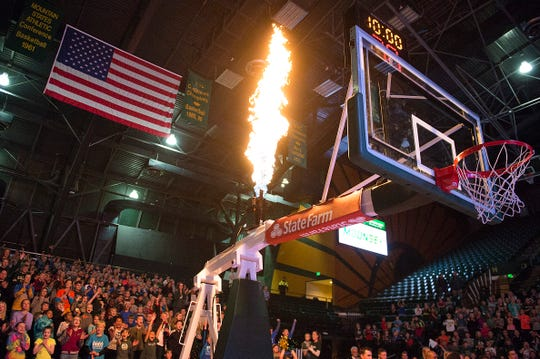 Flames shoot from above the hoops at Moby Arena before a CSU women's basketball game Dec. 5 against Northern Arizona. The Rams will play a home game at 7 p.m. Wednesday against Nevada.