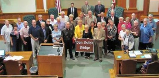 Celebration ensued in the Lee County Commission chamber after Estero Parkway bridge over I-75 was renamed for activist Don Eslick. This week the commission voted to change the name.