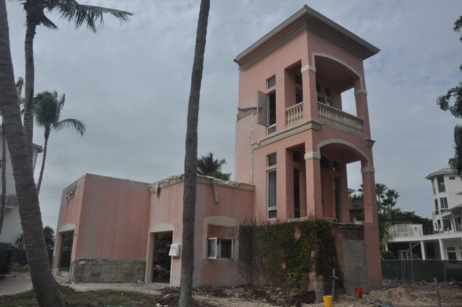 This home on Bonaire Lane in Barefoot Beach was torn down to the foundation, elevator shaft and part of the lower level.