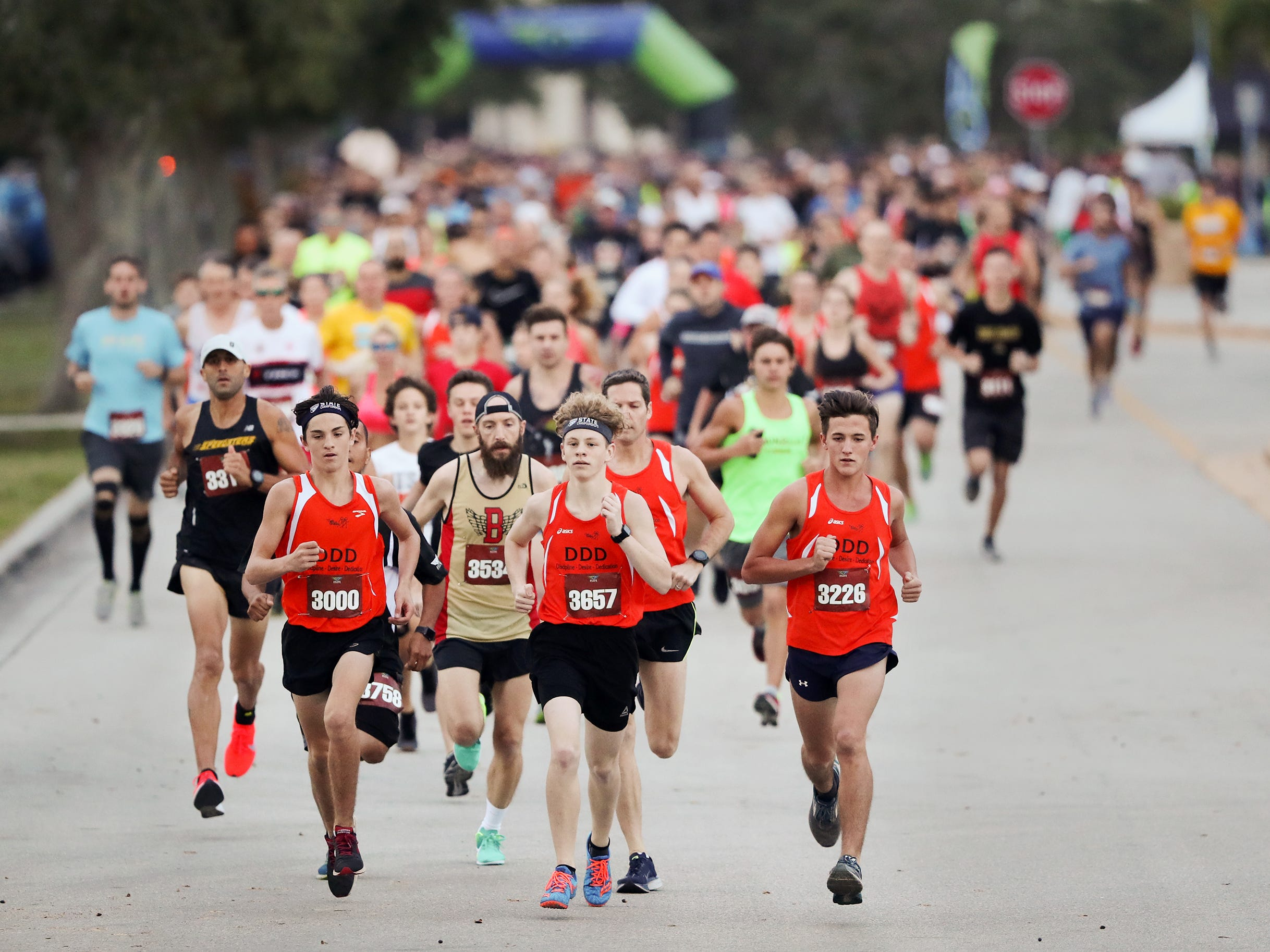 More than 1,000 runners and walkers took part recently in the Elite Events Thanksgiving Day 5k at Hertz Arena in Estero, Florida. A portion of the proceeds benefit San Carlos Park Roller Hockey.