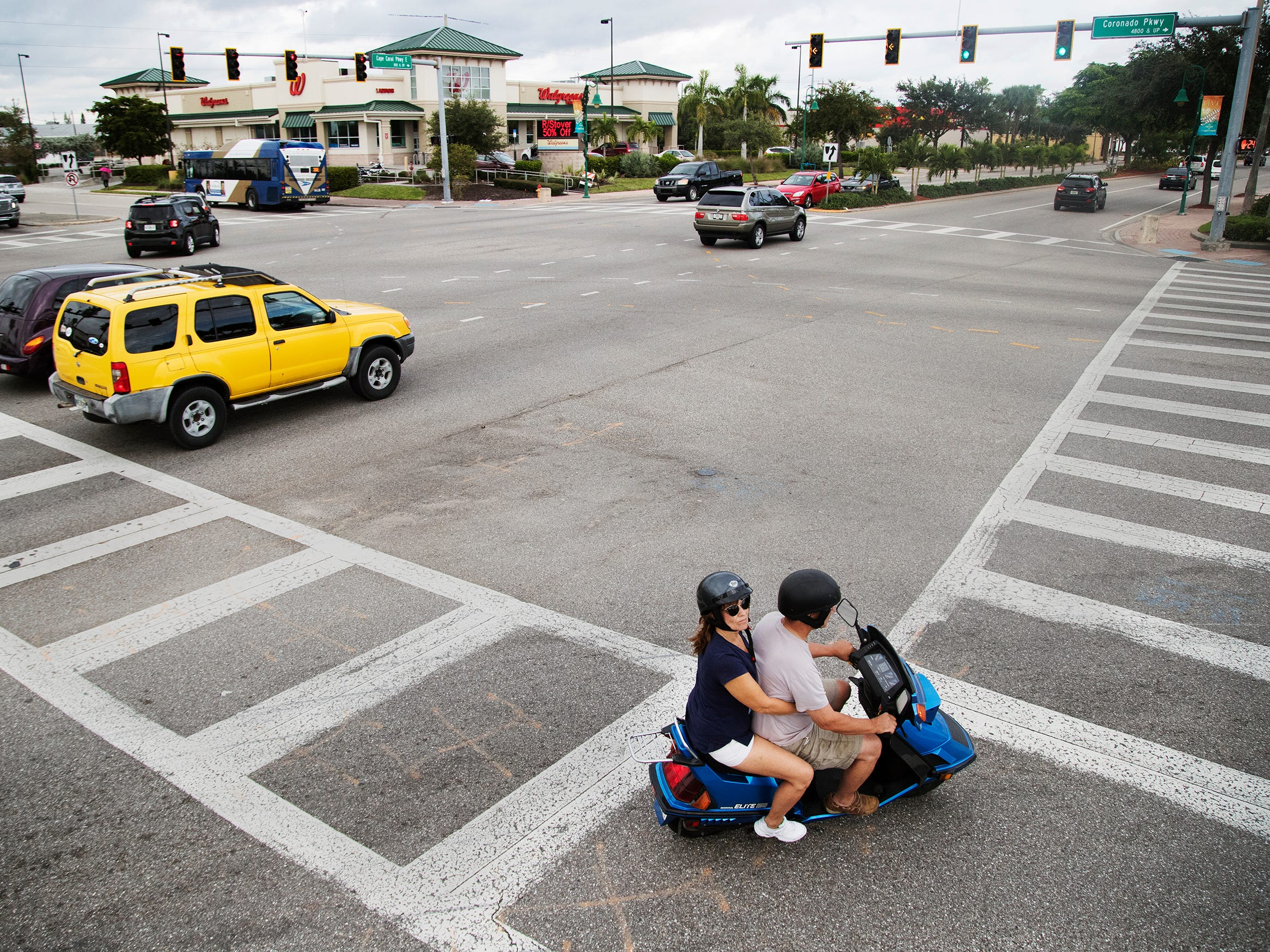 Traffic flows recently at the intersection of Cape Coral Parkway and Coronado Parkway in Cape Coral.