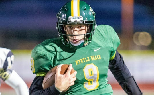 Myrtle Beach junior quarterback Luke Doty, a University of South Carolina commit, has passed for 2,793 yards and rushed for 651 yards this season.