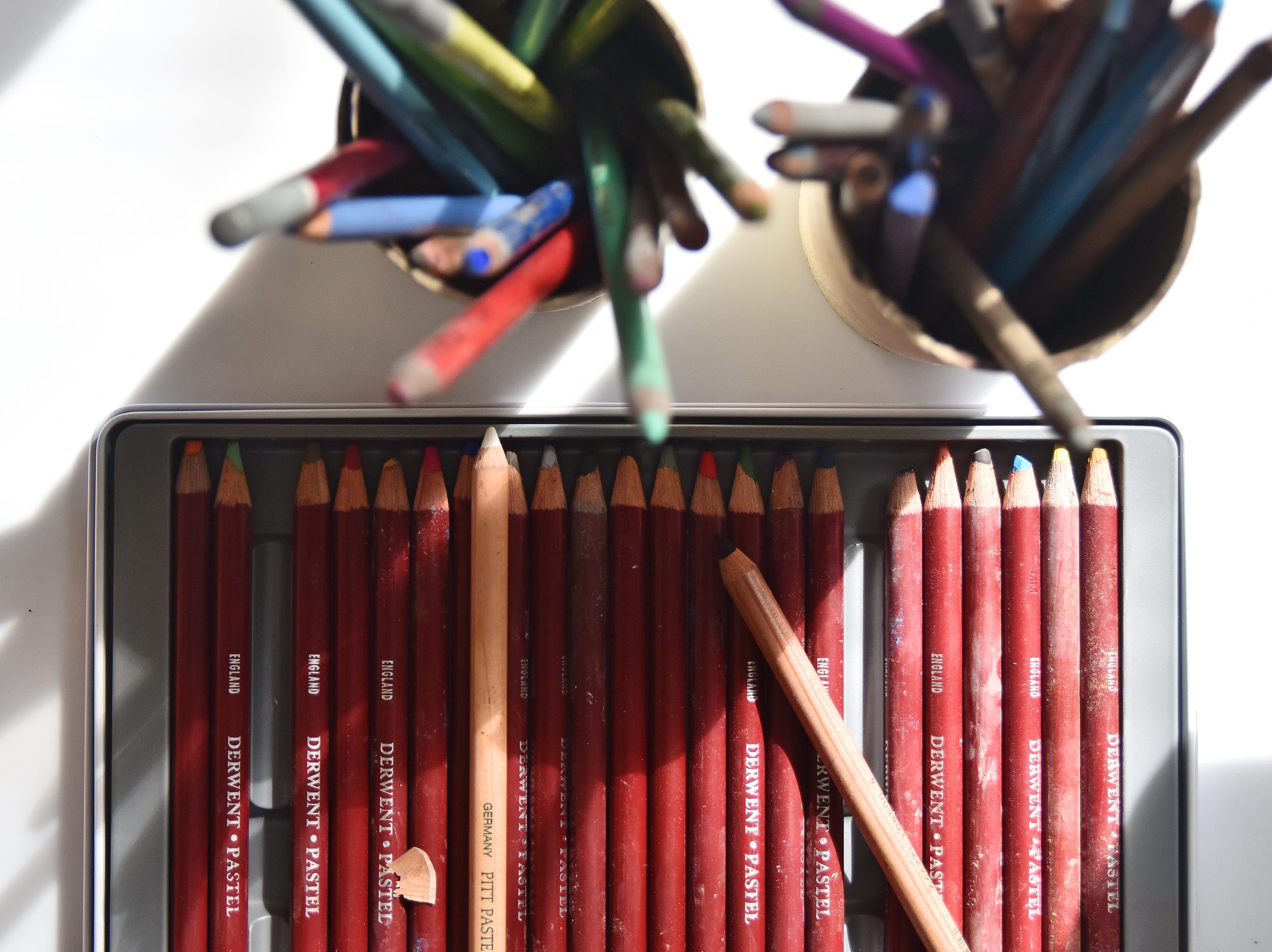 Colored pencils used by artist Olivia White.