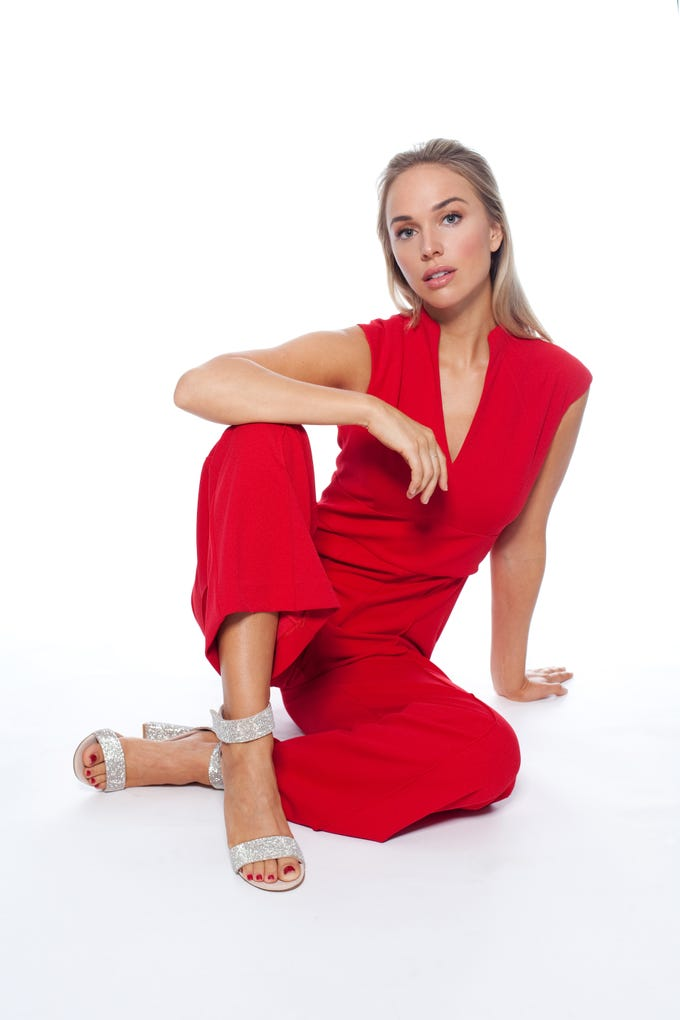 Jumpsuit: Jude Connally, Monkees of the West End  Sandals: Jeffrey Campbell, Muse Stylist: Ann Ricker  Hair and makeup: Janis Lozano  Model: Paulina
