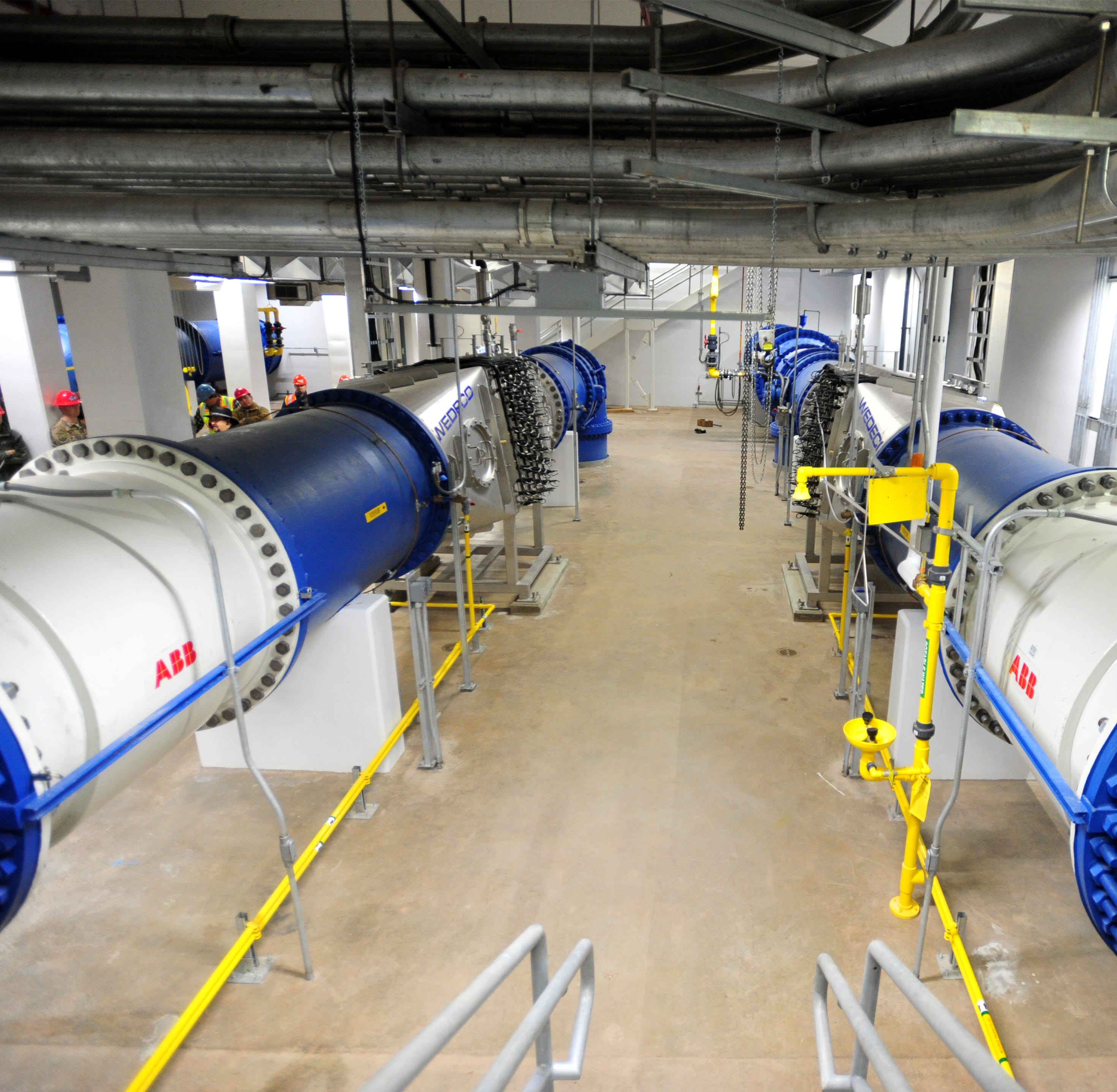 Two water pipes deliver up to 54 million gallons of water per day, combined, to two new ultra violet purification system reactors at the City of Great Falls Water Treatment Plant.
